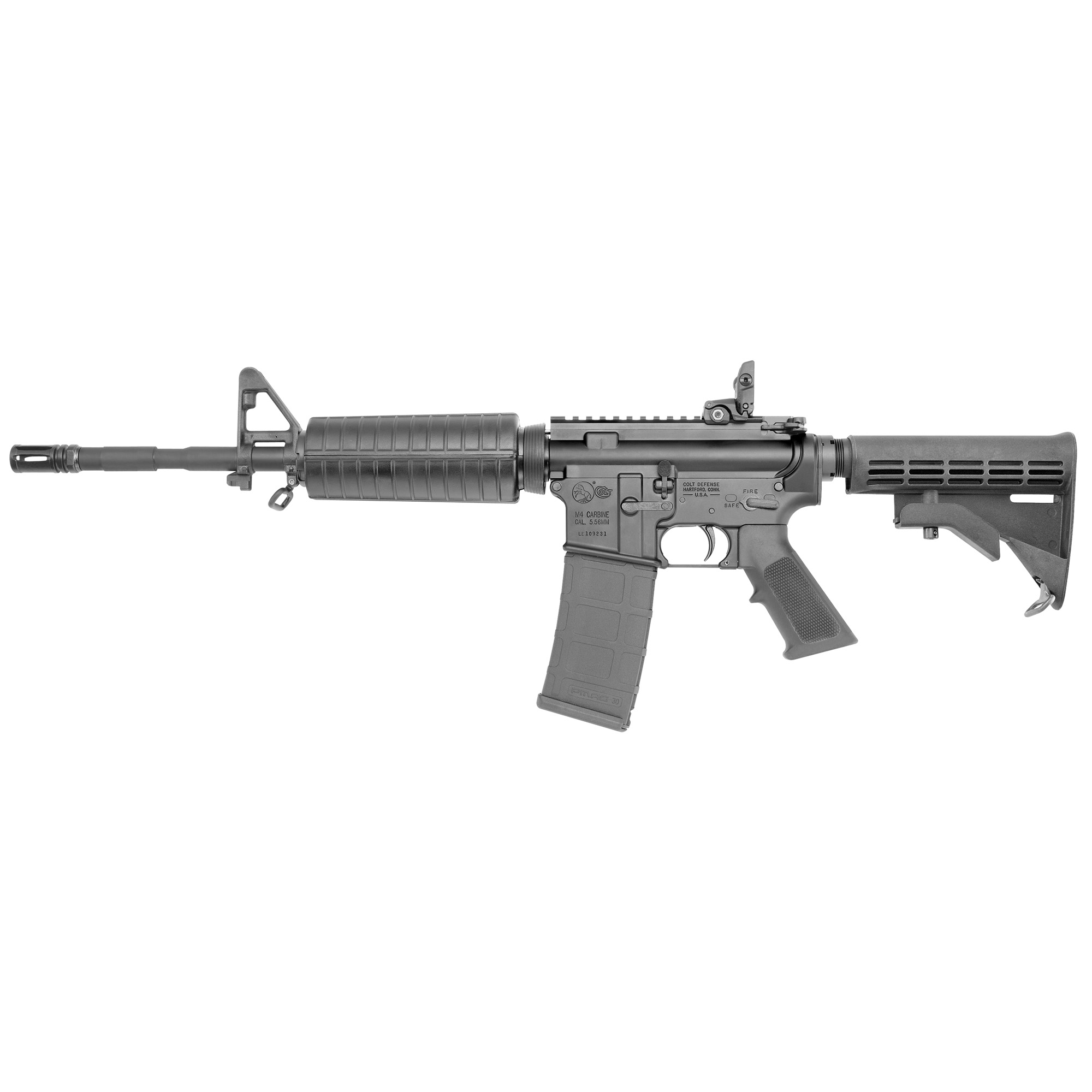 "The M4 Carbine features a 14.5"" SOCOM heavy barrel"" pinned and welded extended flash hider to extend the barrel to a NON-NFA length of 16.1"""" matte black finish and a collapsible buttstock."