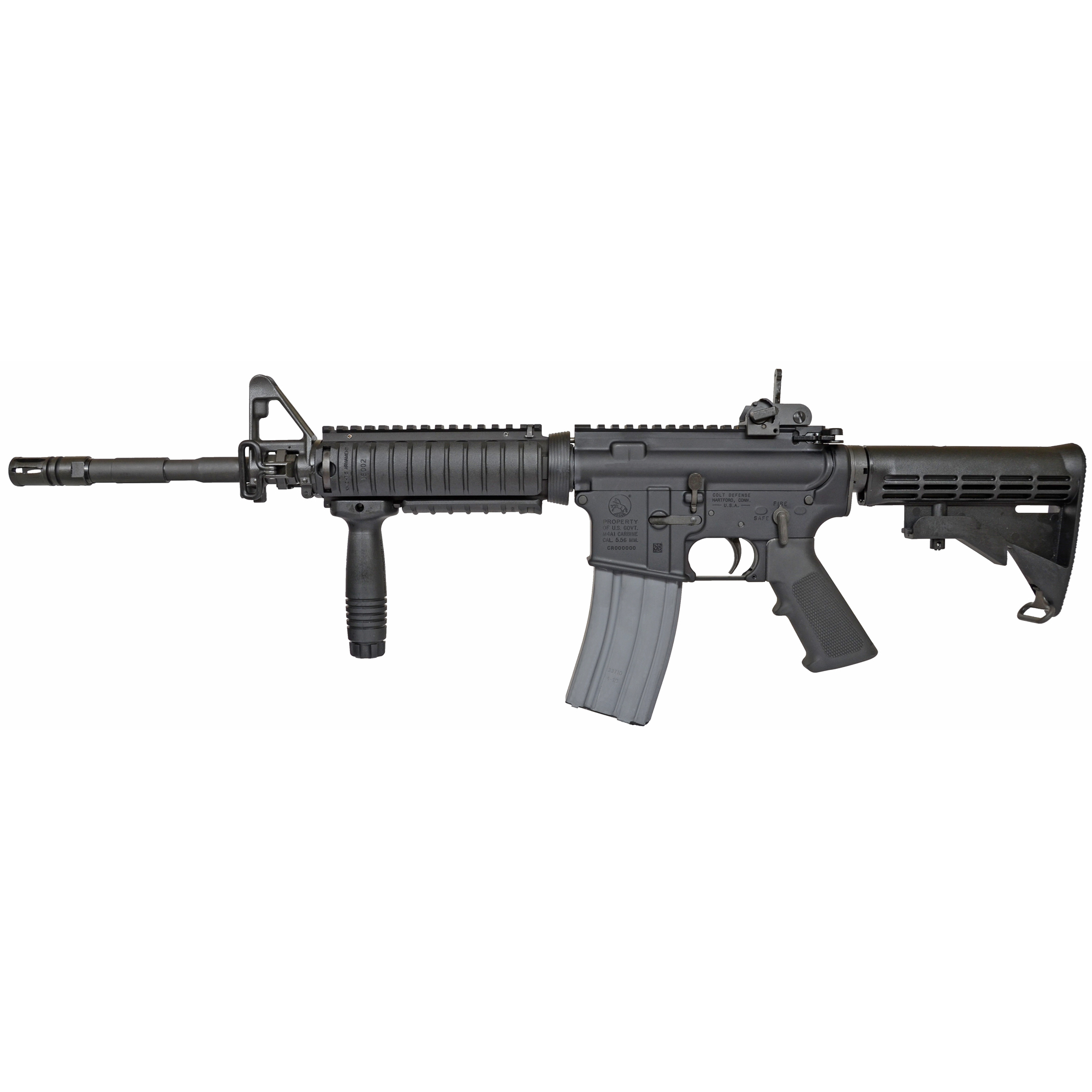 "The Colt M4A1 SOCOM Carbine returns for 2018. This classic US Military Reproduction closely replicates the markings and configuration of the M4A1 SOCOM Carbine. The lower receiver features PROPERTY OF THE US GOVT"" M4A1 CARBINE"" and CAL. 5.56 MM. The barrel is a true SOCOM 14.5 heavy barrel with the iconic M203 flats under the Knights Armament Rail System. Extended flash hider has been pinned and welded to achieve a non-NFA length of 16.1"". Includes the side sling swivel at the gas block and an ambidextrous safety selector. This reproduction is sure to turn heads."
