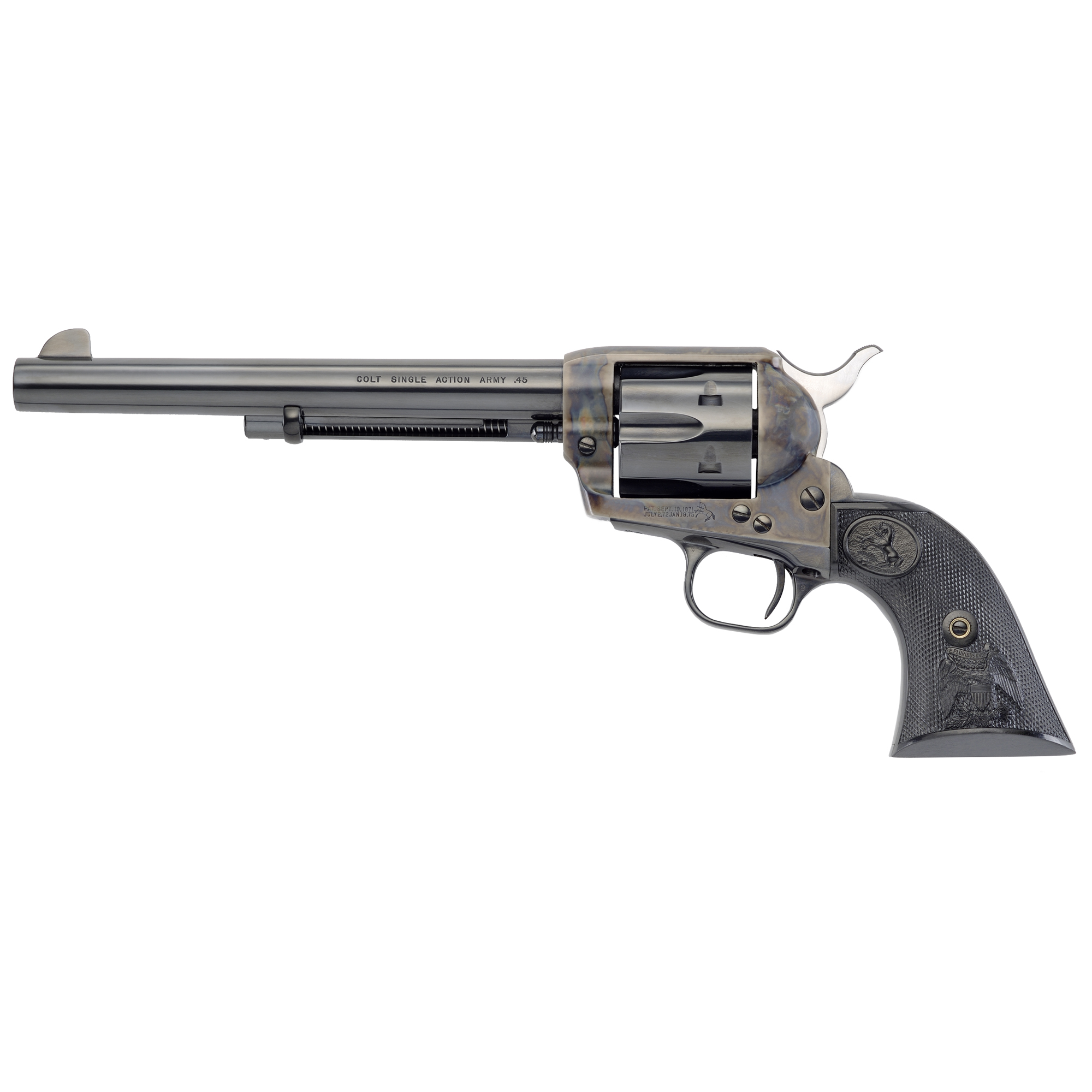 "No Colt revolver has earned greater fame than the single action army - The Peacemaker. In design and performance"" in line and form"" no more sculptural and practical Colt has ever been created. Movies serve as constant reminders of the role this equalizer played in winning the West."
