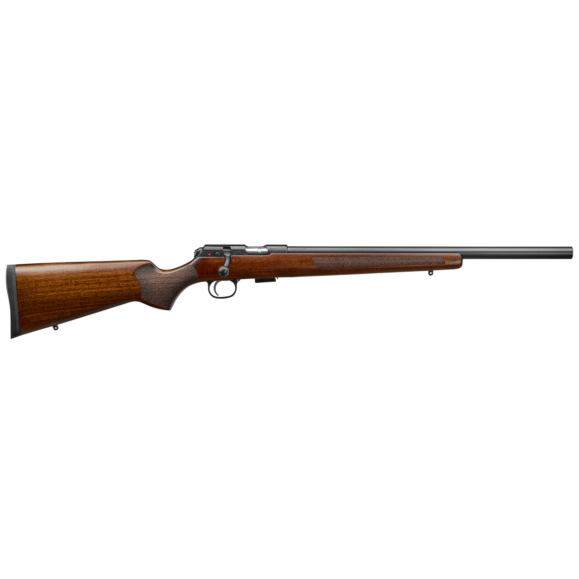 """The standard heavy-barreled version of the 457"""" the Varmint has a .866"""" cylindrical barrel. Not only does the heavy barrel make for good harmonics"""" it also allows the Varmint to perform well with a wide variety of rimfire loads"""" translating into an accurate platform for shooting targets or getting game. The Turkish walnut stock has an American-style comb for use with a scope and a wide"""" flat forend that rides a sandbag well. Laser-cut stippling gives grip fore and aft. This is the .22 WMR"""" 5-round model."""