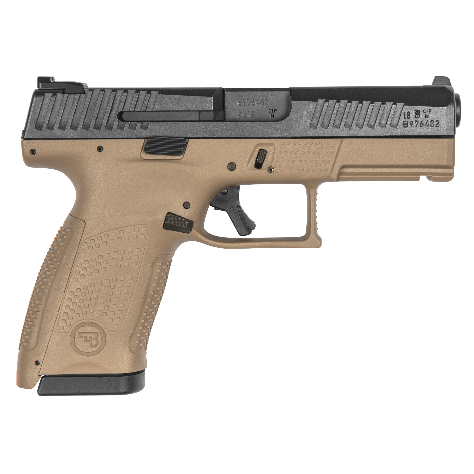 """With CZ reliability"""" engineered ergonomics and a bevy of features both familiar and new"""" the P-10 is the complete package. The CZ grip angle"""" helps the P-10 avoids that 'brick-in-the-hand' feeling that has plagued many in the striker-fired genre"""" allowing it to point naturally. A mild palm swell"""" deep beavertail and three interchangeable backstraps make the P-10 fit a wide variety of hands. The P-10's trigger is designed to minimize creep and stacking"""" and after initial break-in averages a clean 4.5-5 lb. pull and rebounds with a short"""" positive reset - meaning single shots can be meticulously placed while follow-ups are effortless. Built to withstand the rigors of military use"""" its fiber-reinforced polymer frame and hardy nitride finish are made for the daily grind. A generous trigger guard allows use with gloved hands while being undercut to allow as high a grip as possible"""" and a set of metal tactical sights allow for one-handed manipulation of the slide on a belt. Like all CZ pistols"""" the P-10 is built with CZ's legendary cold hammer forged barrel. The 'C' in the name indicates that it is compact in both frame and slide size"""" and magazines are of the same family as the hammer-fired P-07"""" with this model having a 10RD capacity."""