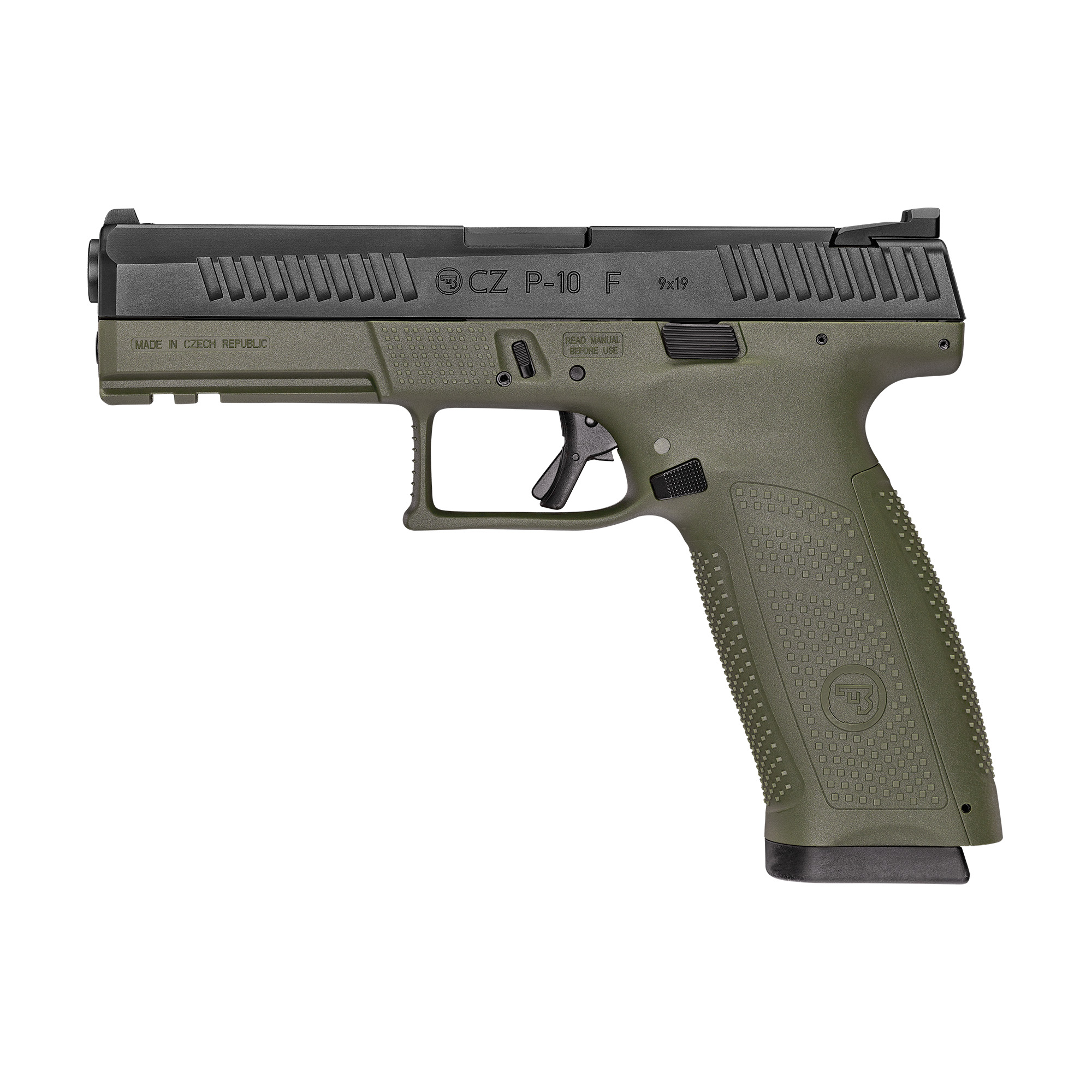 """With CZ reliability"""" engineered ergonomics and a bevy of features both familiar and new"""" the P-10F is the complete package. The CZ grip angle"""" helps the P-10F avoids that 'brick-in-the-hand' feeling that has plagued many in the striker-fired genre"""" allowing it to point naturally. A mild palm swell"""" deep beavertail and three interchangeable backstraps make the P-10F fit a wide variety of hands. The P-10F's trigger is designed to minimize creep and stacking"""" and after initial break-in averages a clean 4.5-5 lb. pull and rebounds with a short"""" positive reset - meaning single shots can be meticulously placed while follow-ups are effortless. Built to withstand the rigors of military use"""" its fiber-reinforced polymer frame and hardy nitride finish are made for the daily grind. A generous trigger guard allows use with gloved hands while being undercut to allow as high a grip as possible"""" and a set of metal tactical sights allow for one-handed manipulation of the slide on a belt. Like all CZ pistols"""" the P-10F is built with CZ's legendary cold hammer forged barrel."""