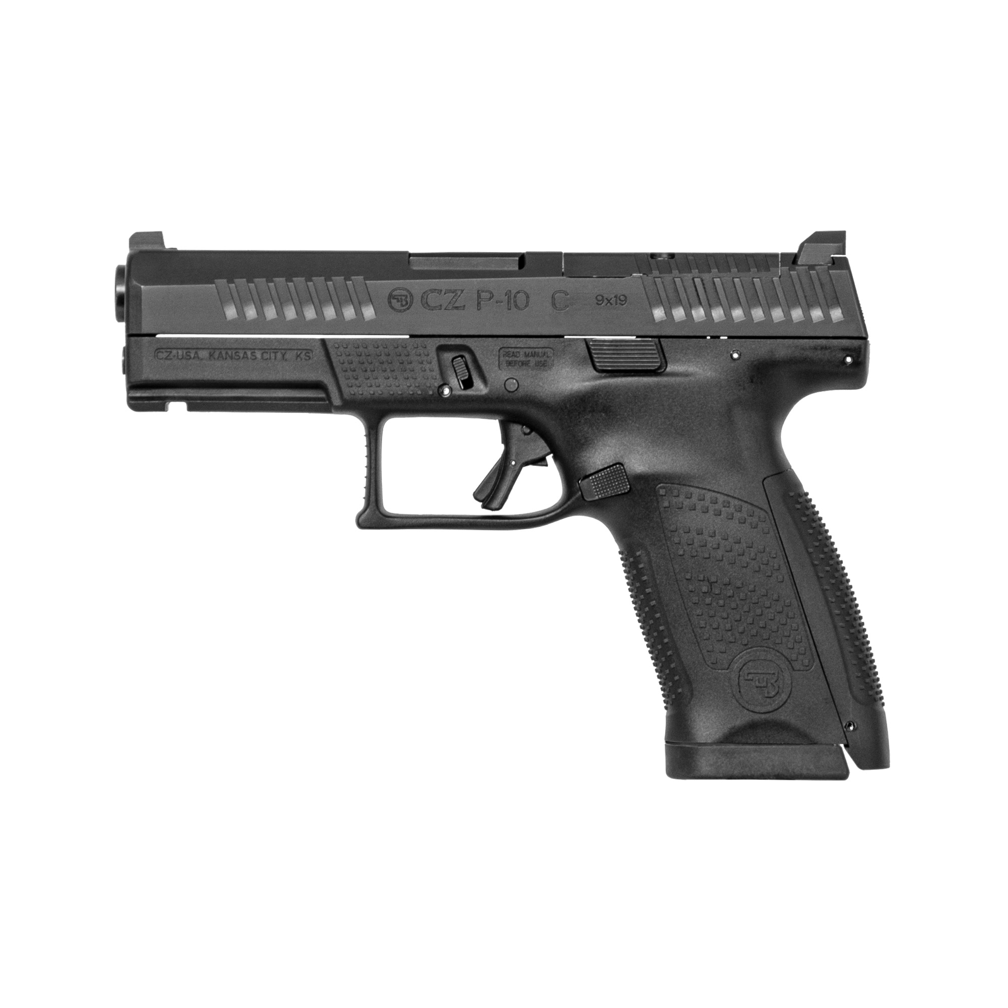 """With CZ reliability"""" engineered ergonomics and a bevy of features both familiar and new"""" the P-10 is the complete package. The CZ grip angle"""" helps the P-10 avoids that 'brick-in-the-hand' feeling that has plagued many in the striker-fired genre"""" allowing it to point naturally. A mild palm swell"""" deep beavertail and three interchangeable backstraps make the P-10 fit a wide variety of hands. The P-10's trigger is designed to minimize creep and stacking"""" and after initial break-in averages a clean 4.5-5 lb. pull and rebounds with a short"""" positive reset - meaning single shots can be meticulously placed while follow-ups are effortless. Built to withstand the rigors of military use"""" its fiber-reinforced polymer frame and hardy nitride finish are made for the daily grind. A generous trigger guard allows use with gloved hands while being undercut to allow as high a grip as possible"""" and a set of metal tactical sights allow for one-handed manipulation of the slide on a belt. Like all CZ pistols"""" the P-10 is built with CZ's legendary cold hammer forged barrel. The 'C' in the name indicates that it is compact in both frame and slide size"""" and magazines are of the same family as the hammer-fired P-07"""" meaning the P-10 C holds 15+1 in 9mm in a flush-fitting mag with extended bases allowing 17+1. Take-down of the P-10 will be familiar to most fans of striker-fired guns"""" and even more pleasing will be holster compatibility with some of the most common guns on the market."""