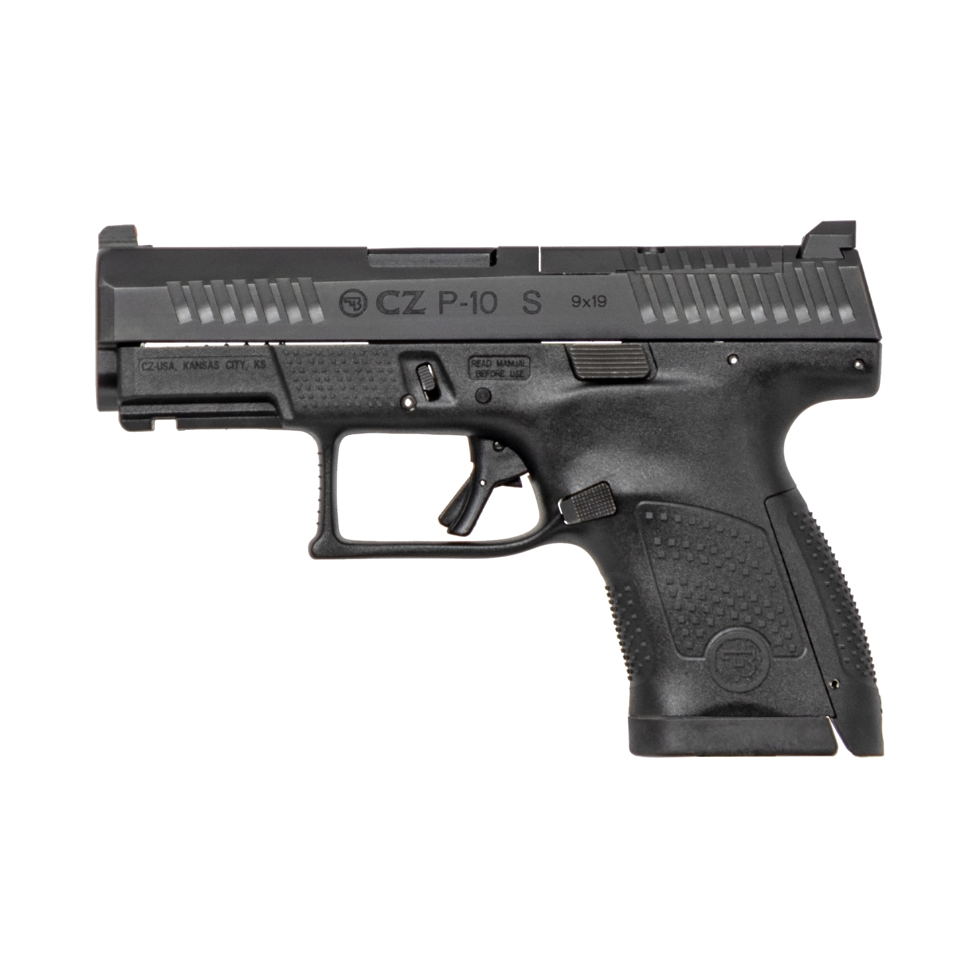 """With CZ reliability"""" engineered ergonomics and a bevy of features both familiar and new"""" the P-10S is the complete package. The CZ grip angle"""" helps the P-10S avoids that 'brick-in-the-hand' feeling that has plagued many in the striker-fired genre"""" allowing it to point naturally. A mild palm swell"""" deep beavertail and three interchangeable backstraps make the P-10S fit a wide variety of hands. The P-10S's trigger is designed to minimize creep and stacking"""" and after initial break-in averages a clean 4.5-5 lb. pull and rebounds with a short"""" positive reset - meaning single shots can be meticulously placed while follow-ups are effortless. Built to withstand the rigors of military use"""" its fiber-reinforced polymer frame and hardy nitride finish are made for the daily grind. A generous trigger guard allows use with gloved hands while being undercut to allow as high a grip as possible"""" and a set of metal tactical sights allow for one-handed manipulation of the slide on a belt. Like all CZ pistols"""" the P-10S is built with CZ's legendary cold hammer forged barrel. This model has a 12RD capacity."""