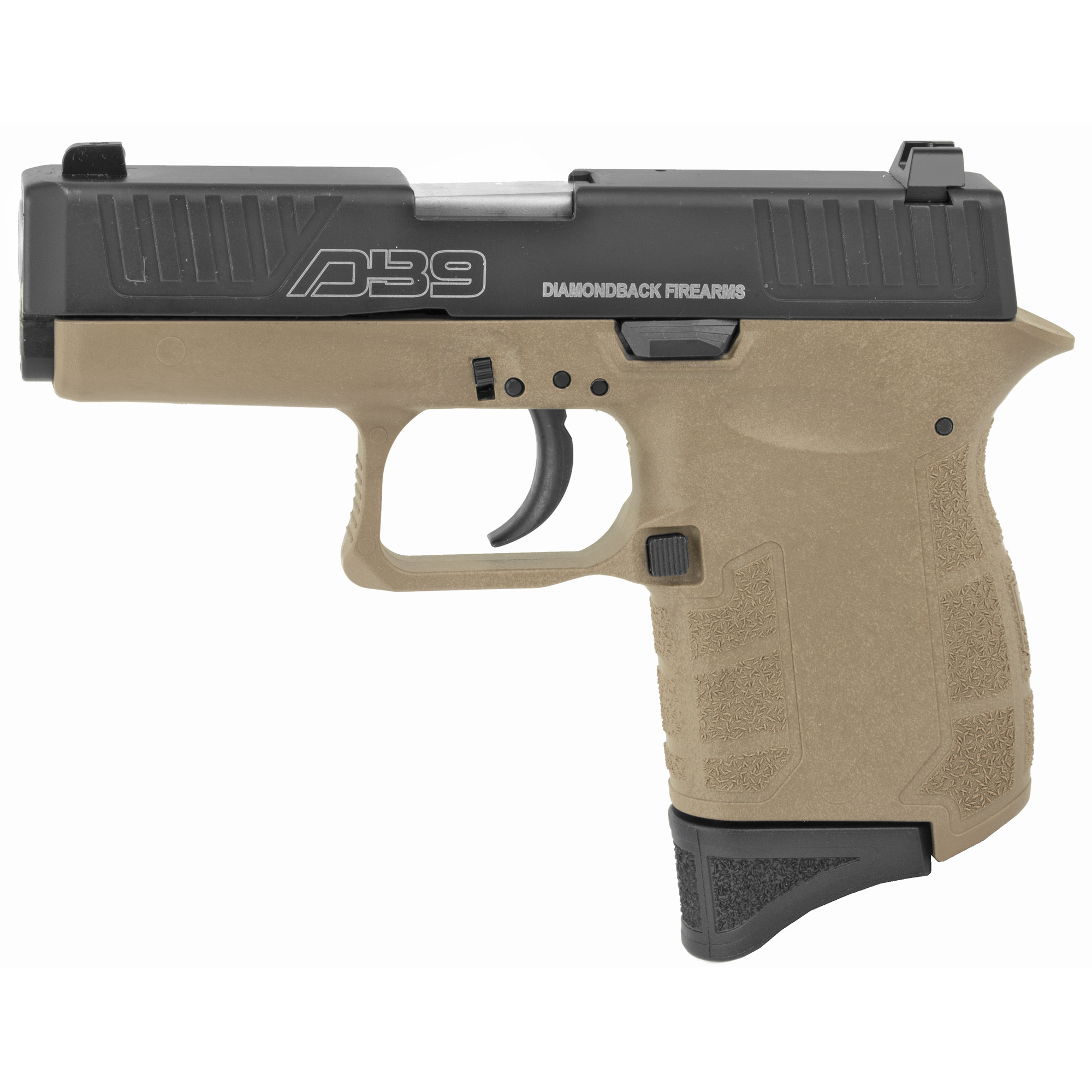 """Diamondback Firearms is proud to present the DB9"""" a micro-compact 9mm pistol made entirely in the USA. Designed with safety in mind"""" the DB9 features a """"ZERO-Energy"""" striker firing system with a mechanical firing pin block"""" a steel magazine catch to secure a sheet metal magazine and real windage-adjustable sights"""" all in a lightweight pistol."""