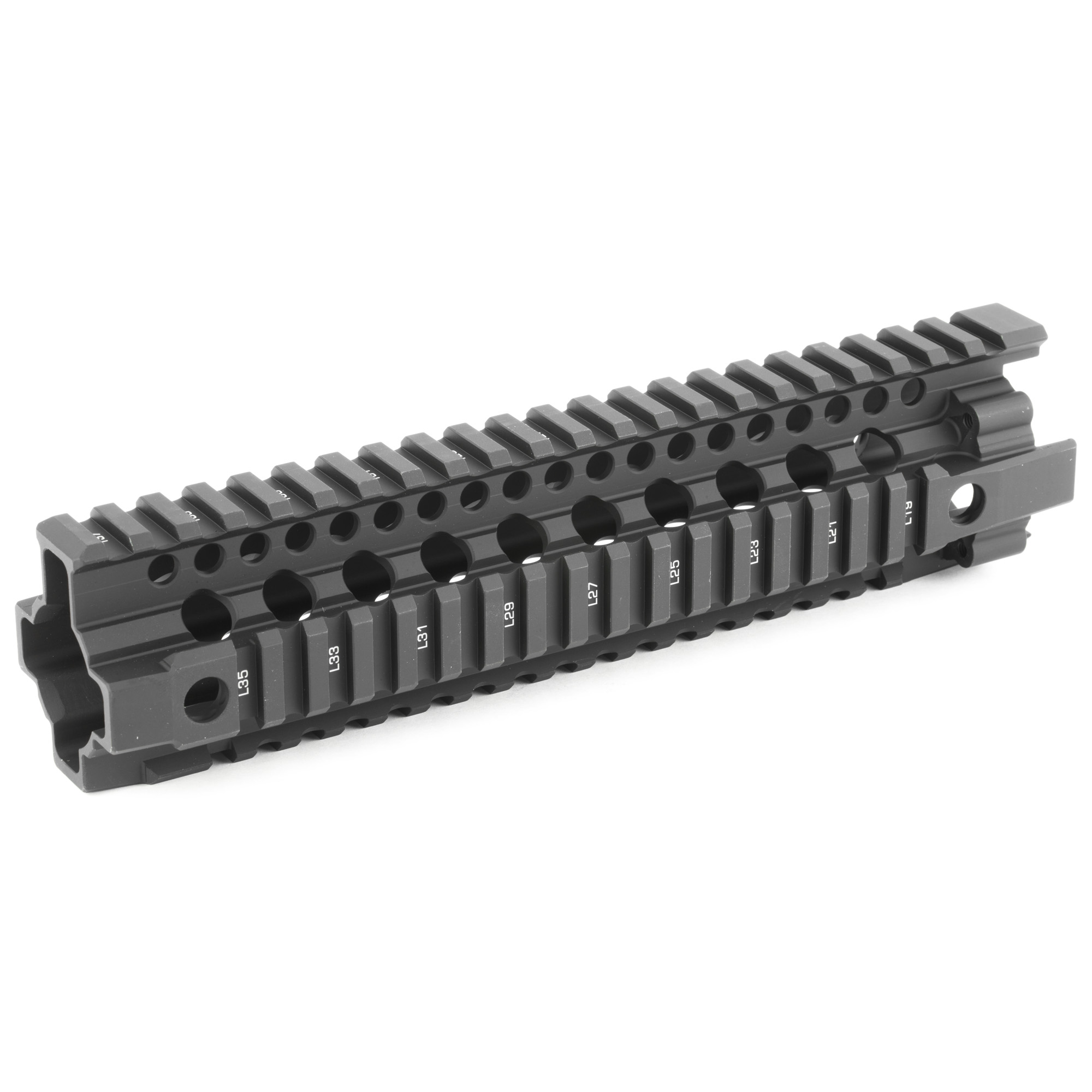 "Daniel Defense's DDM4 9.0 Mid-Length rail features an optimized one-piece"" free-floating architecture. This design results in the ergonomics and proven durability users demand while maintaining the lightweight characteristics they expect from Daniel Defense. The DDM4 Rail's ergonomic design allows operators to maintain better control of the firearm. Limited rotation QD swivel attachment points are located at the front and rear of both sides of this rail system for tangle-free attachment for slings. A continuous picatinny rail on top provides the rail real estate for sights and accessories. DDM4 Rail 9.0 is compatible with low profile gas blocks on barrels 10"" and longer with gas systems at Mid-length and shorter. Rail System includes all required hardware (Barrel Nut"" Bolt-Up Plate"" & Screws)"" tools (Barrel Nut Wrench & Allen Wrench)"" and 3 Daniel Defense Rail Ladders made of high temperature resistant Santoprene."