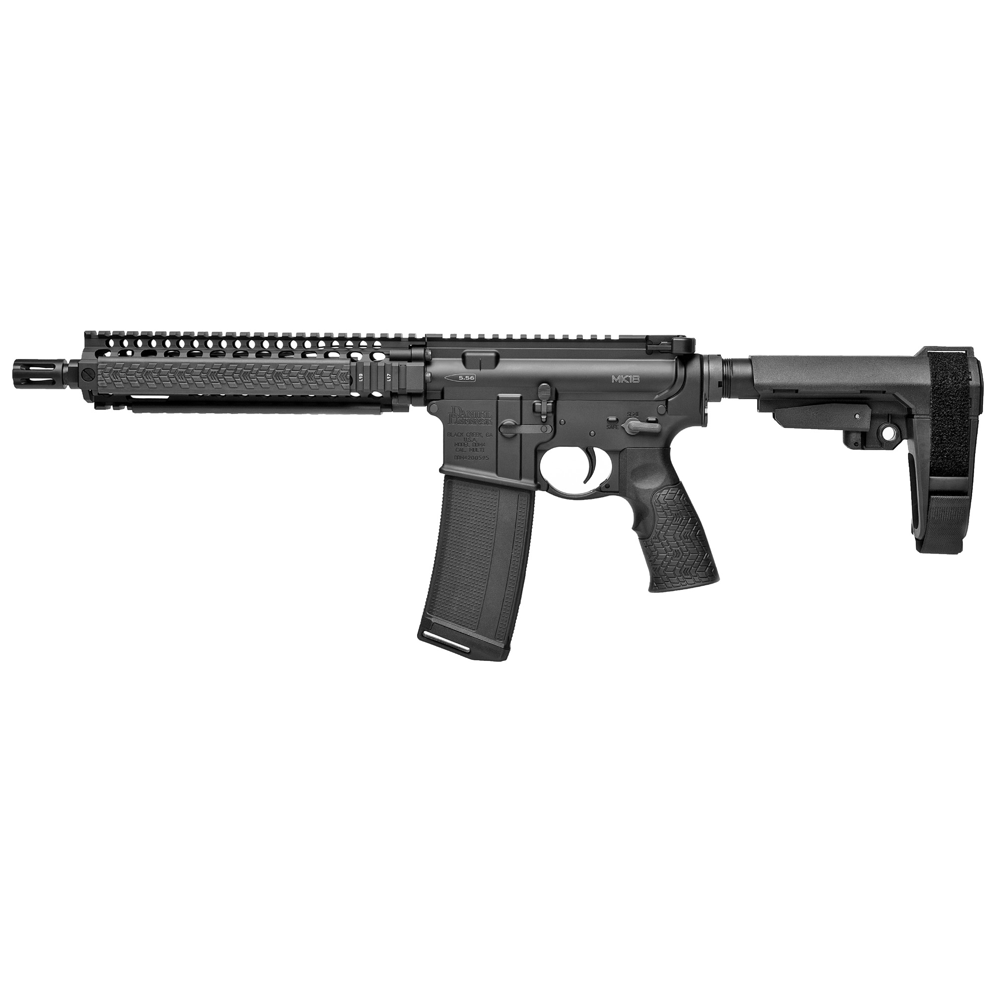 "The Daniel Defense MK18 Pistol"" equipped with the SB-Tactical SOB Pistol Stabilizing Brace"" is a variation of the MK18 SBR"" which has been extremely popular within the Law Enforcement and Special Operations communities. This firearm is classified as a Pistol and not a Short Barreled Rifle (NFA regulated items require ATF approval and a tax stamp). The Daniel Defense MK18 Pistol features the railed forend Daniel Defense currently provides to USSOCOM and a 10.3"" Cold Hammer Forged Barrel"" the same length commonly used for CQB operations. The MK18 RISII features the Bolt-Up System and has been rigorously tested prior to fielding by USSOCOM. This pistol comes equipped with the rugged and comfortable Daniel Defense Pistol Grip with an integral trigger guard and soft touch over molding. The MK18 Pistol is unmatched in size"" weight"" and performance."