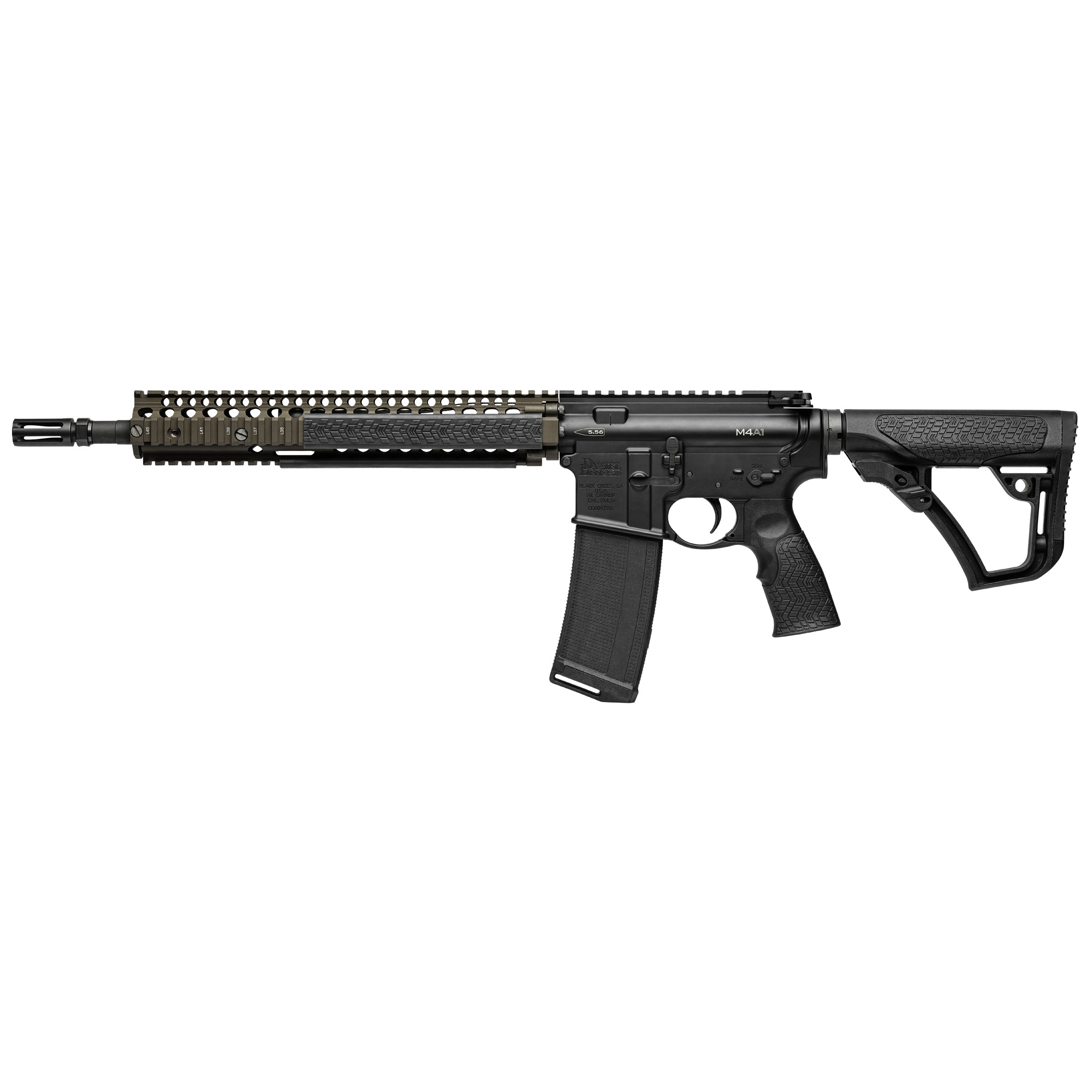 "The Daniel Defense M4A1 features the M4A1 RIS II"" which has been in use by US Special Operations Command (SOCOM) for the SOPMOD II Weapons System since 2005. The M4A1 features a 14.5"" Cold Hammer Forged M4 Profile barrel with a permanently attached Daniel Defense Flash Suppressor."