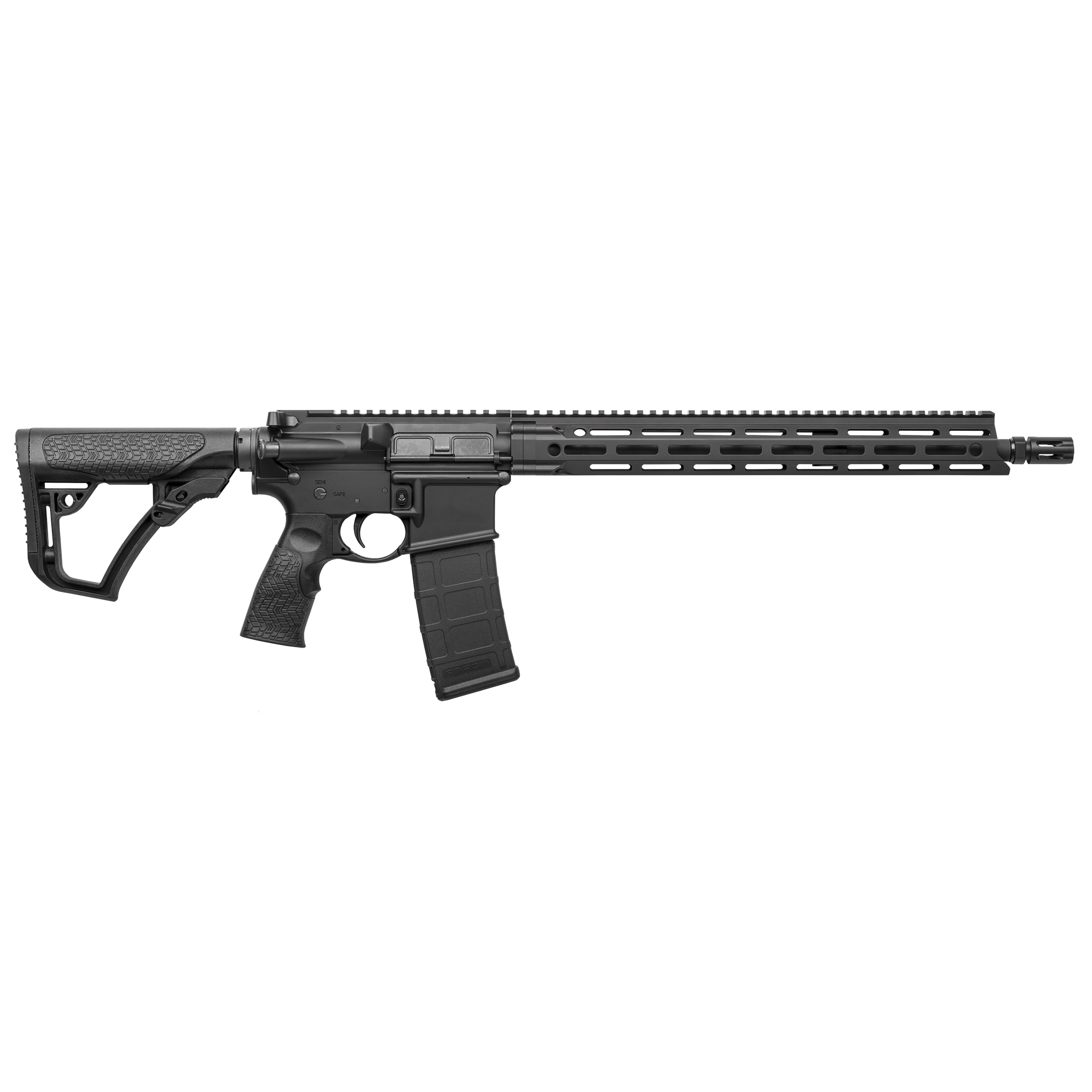 "The Daniel Defense V7 LW is the first rifle in the DDM4 lineup to feature the M-LOK(R) attachment technology with the Daniel Defense MFR 15.0 rail. Built around a Cold Hammer Forged"" 16"" lightweight profile barrel"" the V7 has a DD improved Flash Suppressor to reduce flash signature. The mid-length gas system provides smooth and reliable cycling under any condition and reduces both perceived recoil and wear on moving parts."