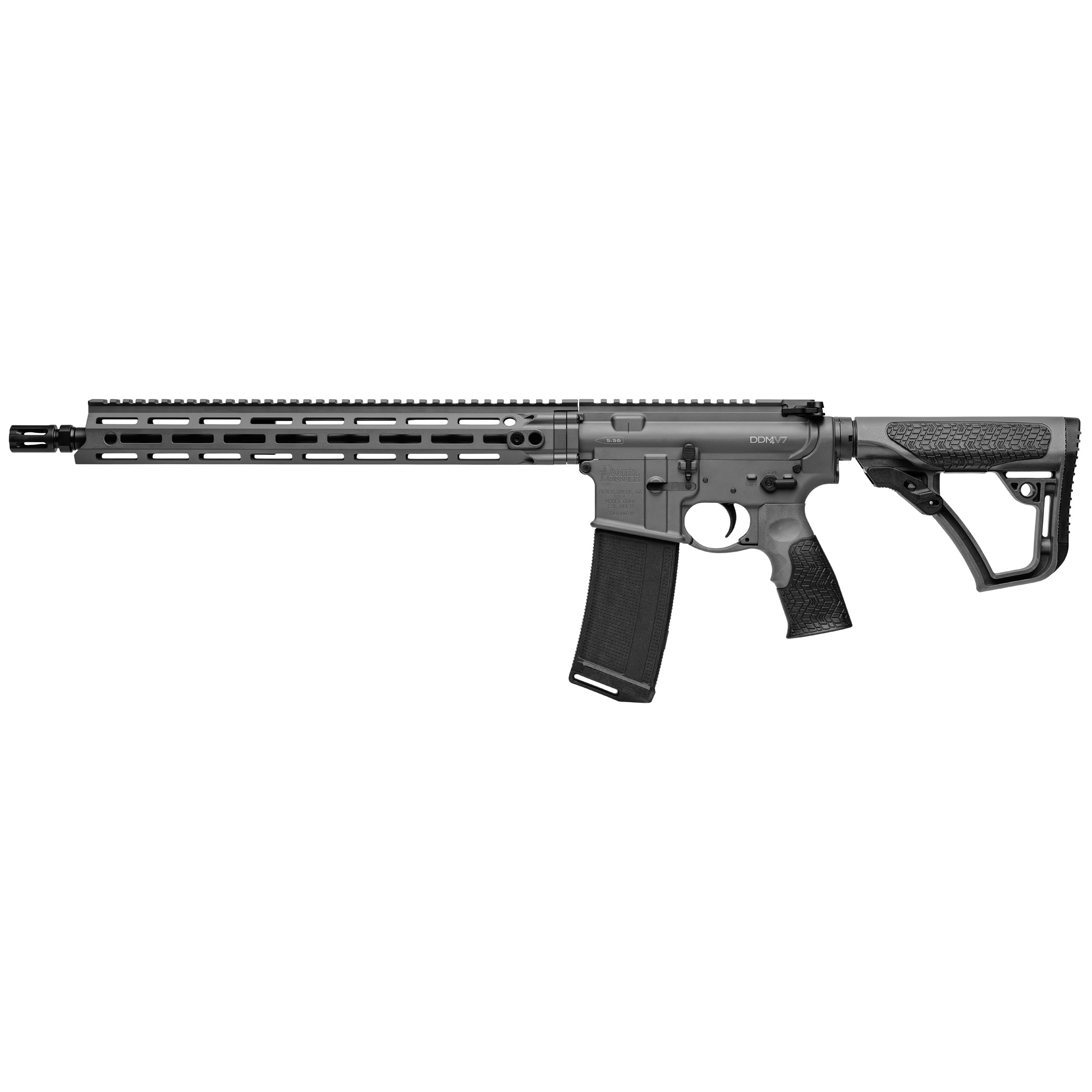 "The Daniel Defense V7 is the first rifle in the DDM4 lineup to feature the M-LOK(R) attachment technology with the Daniel Defense MFR 15.0 rail. Built around a Cold Hammer Forged"" 16"" barrel"" the V7 has a DD improved Flash Suppressor to reduce flash signature. The mid-length gas system provides smooth and reliable cycling under any condition and reduces both perceived recoil and wear on moving parts."