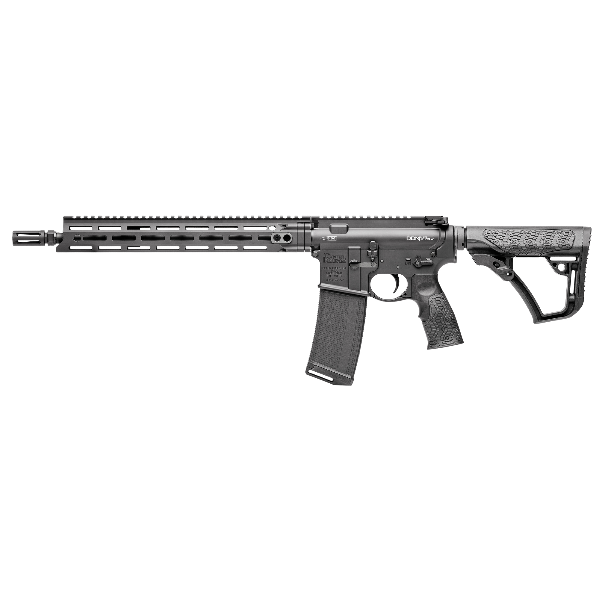 "The Daniel Defense M4 V7 SLW is one of the lightest"" fastest-handling rifles available in the DDM4 line-up"" tipping the scales at under 6 lbs. Built around a Cold Hammer Forged"" 14.5"" Lightweight profile barrel"" the V7 SLW has an Extended Flash Suppressor which is pinned and welded to reach the NFA required 16"" minimum barrel length. The mid-length gas system provides smooth and reliable cycling under any conditions and reduces both perceived recoil and wear on moving parts."