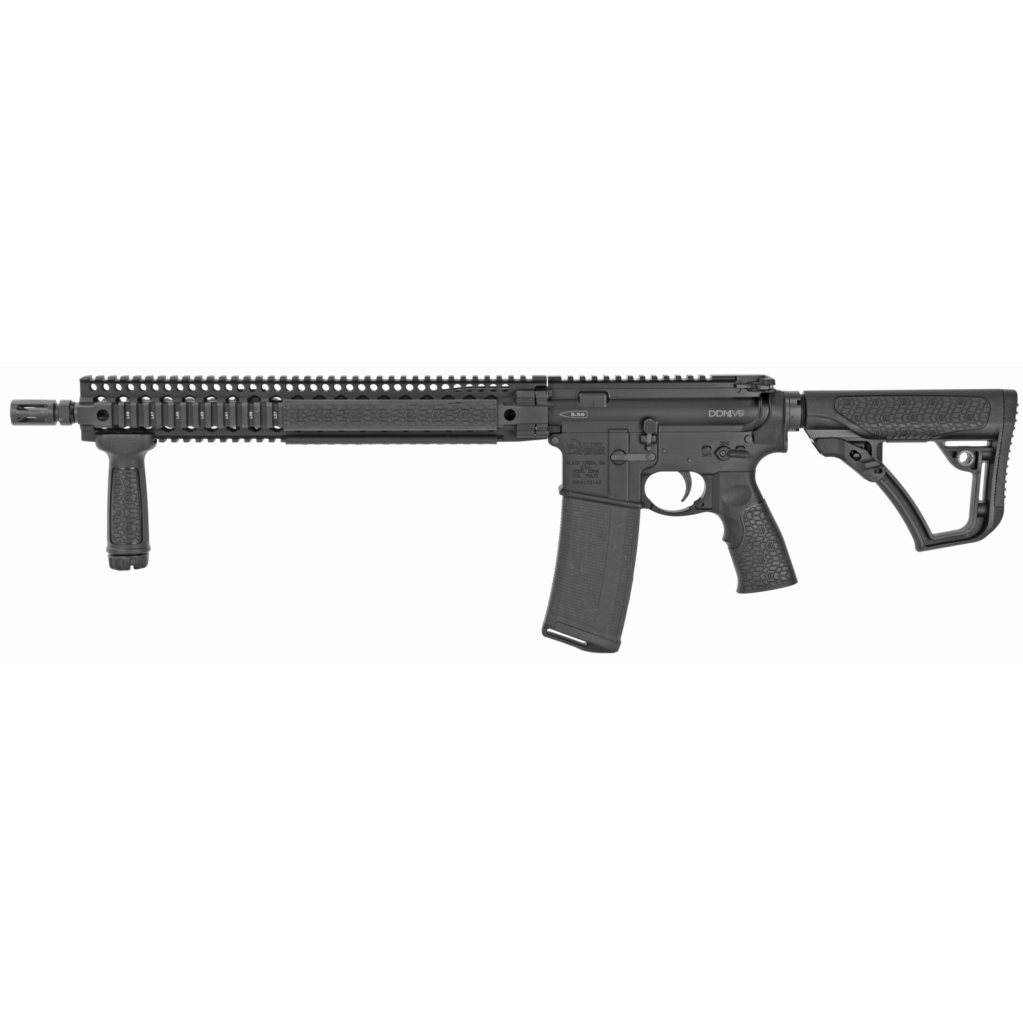 "The new Daniel Defense DDM4V9 is designed to satisfy the needs of modern shooters not only in popular shooting sports but also for tactical and defensive applications. The long"" 15"" DDM4 quad rail over a 16"" cold hammer forged Government profile barrel gives the operator the option to have the support hand extended out close to the muzzle allowing them to drive the gun more precisely"" and preventing over travel when transitioning between multiple targets."