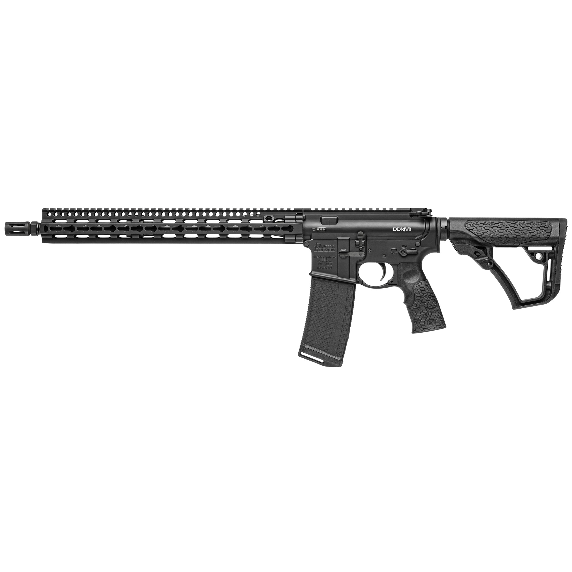 "The Daniel Defense M4 Carbine V11"" based on the popular V9 series"" was designed for shooters who prefer the benefits of the KeyMod system integrated in the new SLiM Rail. KeyMod is a recoil resistant"" two-part"" direct attachment method for accessories that offers outstanding ""return-to-zero"" when accessories are removed and reinstalled. The new SLiM Rail 15.0 offers incredible weight savings as well as superior cooling"" ergonomics"" and modularity while maintaining the strength and durability expected from Daniel Defense."