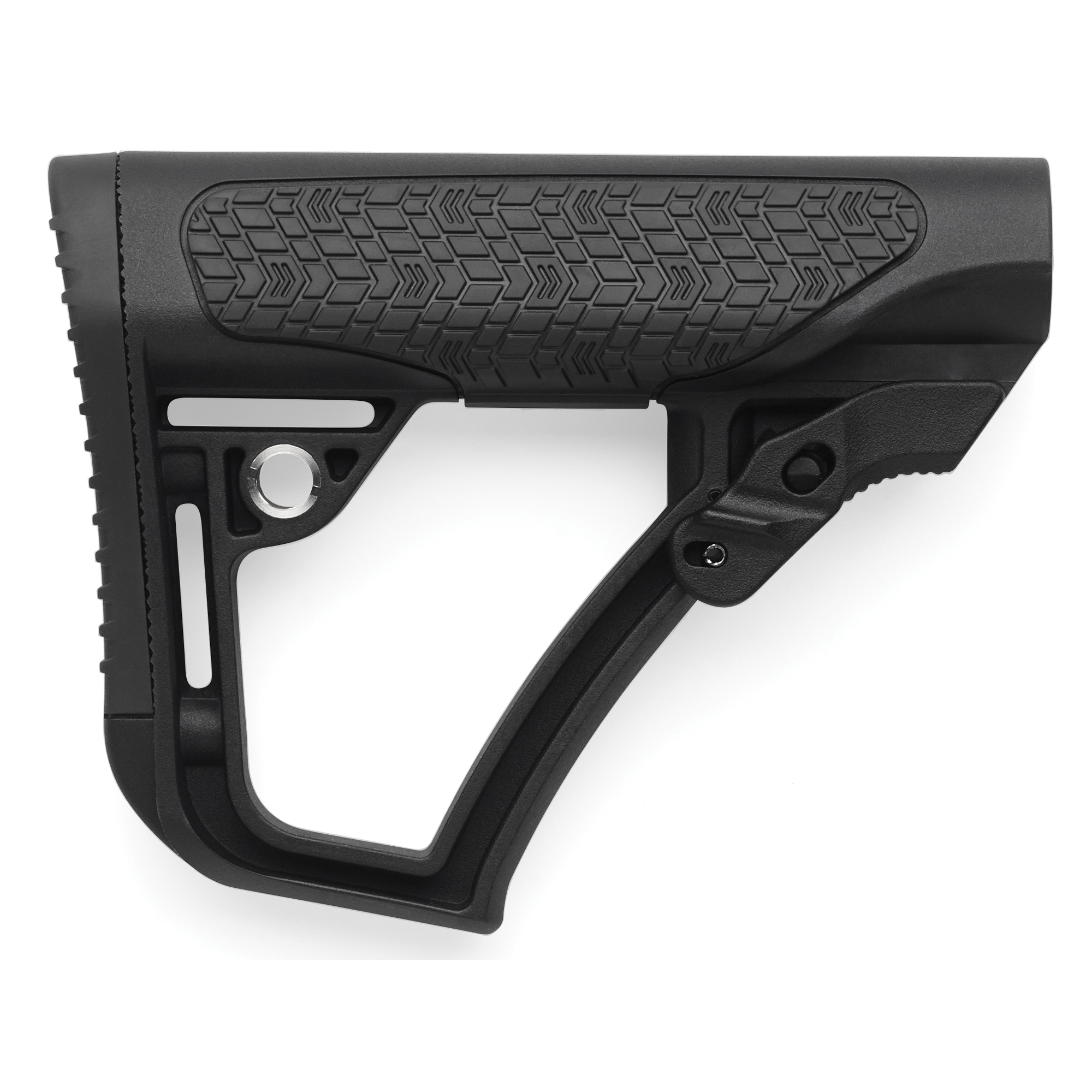 "Daniel Defense's Collapsible Mil-Spec Collapsible Buttstock is constructed of a proprietary blend of glass infused polymers and finished off with soft touch rubber overmolding in strategic points. The new buttstock is precision formed for mil-spec receiver extensions to have very little forward or lateral play that is so common in many other buttstocks. This eliminates the need for a tensioning device or friction lock. All of this results in a durable buttstock that will give the shooter a comfortable and repeatable cheek weld and unprecedented control of the firearm. The buttstock can be run with one of two included buttpads or without any buttpad at all to custom fit the rifle to whatever gear the operator must wear. The buttpads come in two sizes: a thicker convex shape (0.8"")"" and a thinner concave shape (0.5""); designed to keep from snagging when shouldering the rifle. Limited rotation QD swivel attachment points are integrated on both sides of the buttstock for ambidextrous sling connection."