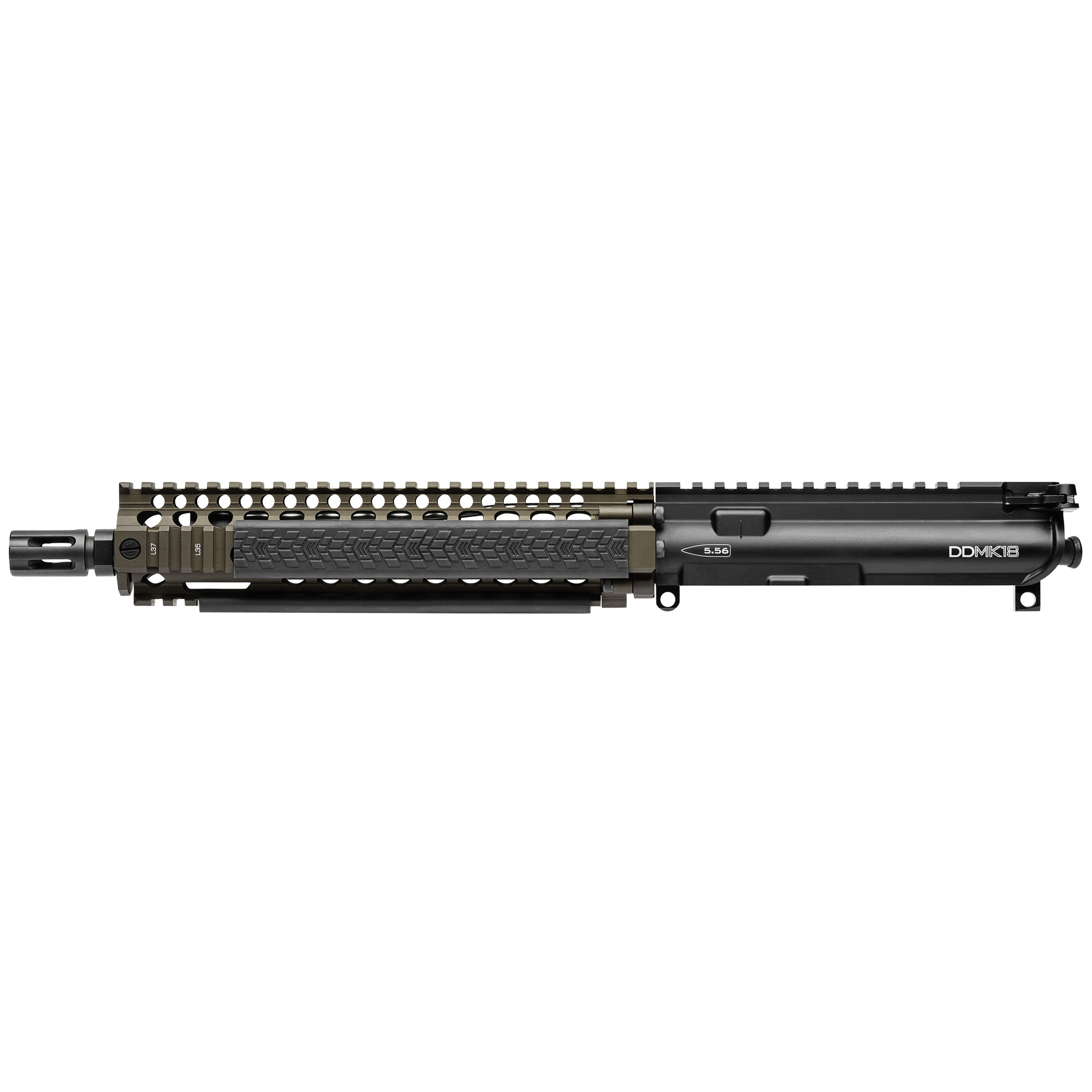 "Use what ""THEY"" use. The Daniel Defense MK18 Upper Receiver Group features the railed forend Daniel Defense currently provides to USSOCOM and a 10.3"" Cold Hammer Forged Barrel. The MK18 Rail Interface System (RIS II) features the Bolt-Up System has been rigorously tested prior to fielding by USSOCOM. The 10.3"" barrel is the same length in use for the MK18 upper most commonly used for CQB operations. The new independently ambi GRIP-N-RIP Charging Handle accommodates left- and right-handed shooters and is engineered for suppressed fire"" with anti-gas features that redirect gas flow upward and away from the face and operator. All Daniel Defense complete upper receiver groups come standard with an M16 profile bolt carrier group. NFA DISCLAIMER: Once this part is assembled into a complete firearm"" it becomes a regulated item by the National Firearms Act (NFA). Please check with your local and state municipalities for any further regulatory requirements. It is the buyer's responsibility to make sure they comply with all NFA rules and applicable laws."