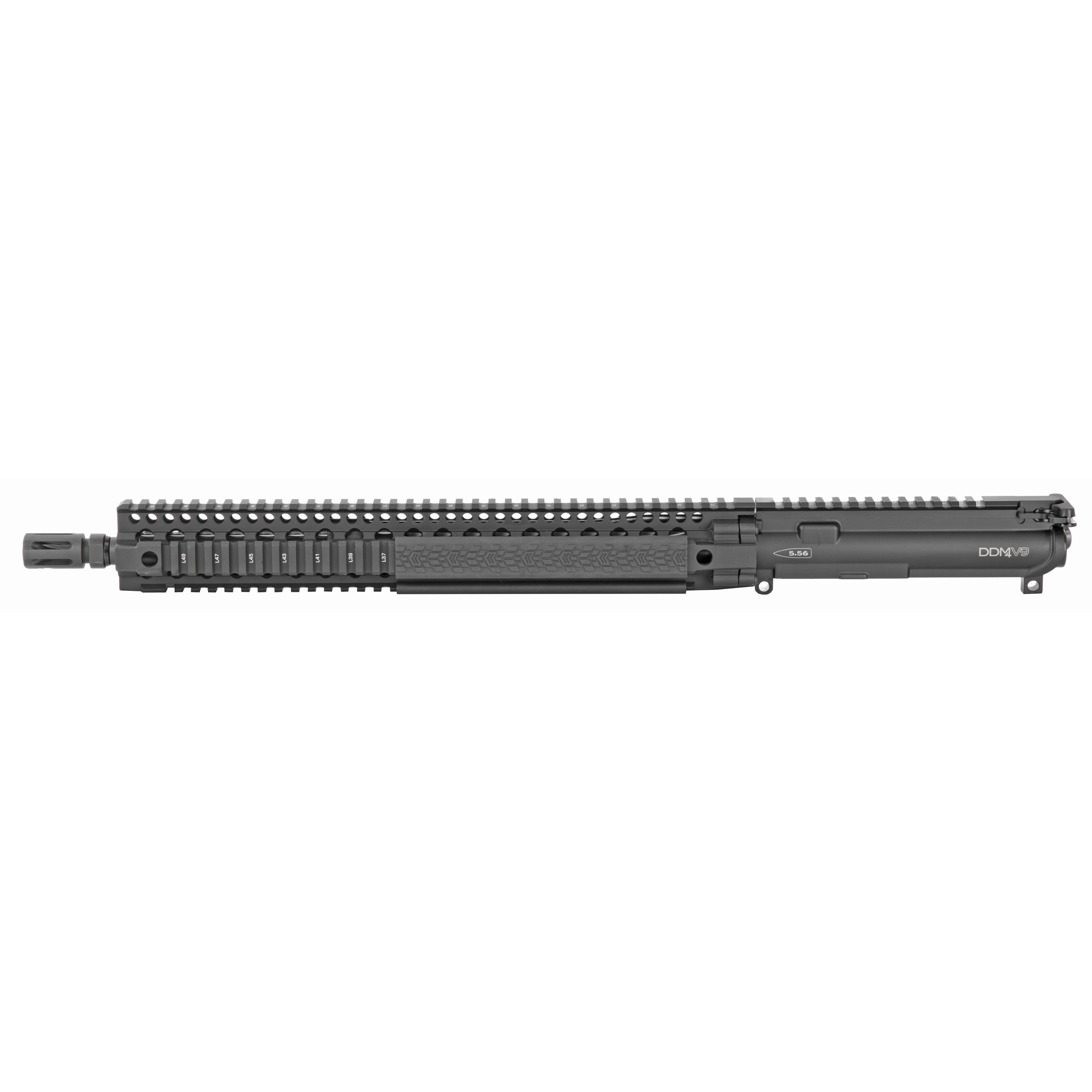 "The new Daniel Defense DDM4V9 Upper Receiver Group is designed to satisfy the needs of modern shooters not only in popular shooting sports but also for tactical and defensive applications. The long"" 15"" DDM4 quad rail over a 16"" cold hammer forged Government profile barrel gives the operator the option to have the support hand extended out close to the muzzle allowing them to drive the gun more precisely"" and preventing over travel when transitioning between multiple targets. This combined with a mid-length gas system which is known to have a smoother recoil impulse allows for quick but precise rapid fire. The longer rail also affords the shooter plenty of real estate for optics and accessories and allows for maximum sight radius for accurate shooting with rail mounted iron sights. The new independently ambi GRIP-N-RIP Charging Handle accommodates left- and right-handed shooters and is engineered for suppressed fire"" with anti-gas features that redirect gas flow upward and away from the face and operator. The V9 URG is equipped with a single pinned low profile gas block that is drilled"" taper reamed"" and press fit into place to securely attach the low profile gas block to the barrel assembly. All Daniel Defense complete upper receiver groups come standard with an M16 profile bolt carrier group."