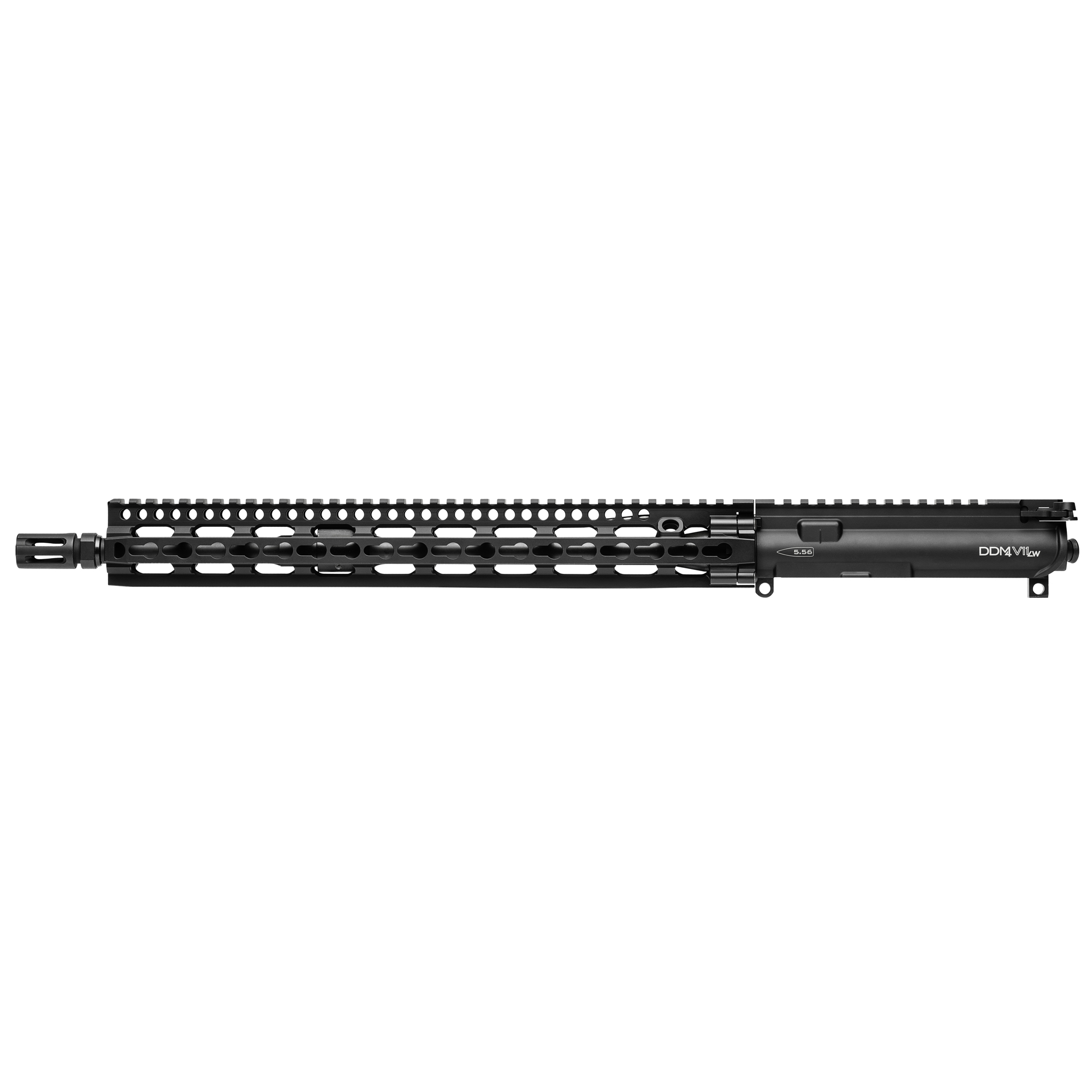 "The Daniel Defense M4 Carbine V11 Lightweight Upper Receiver Group was designed for shooters who prefer the benefits of the KeyMod system integrated in the new SLiM Rail. KeyMod is a recoil resistant"" two-part"" direct attachment method for accessories that offers outstanding ""return-to-zero"" when accessories are removed and reinstalled. The new SLiM Rail 15.0 offers incredible weight savings as well as superior cooling"" ergonomics"" and modularity while maintaining the strength and durability expected from Daniel Defense. The long"" 15"" rail gives operators the option to have the support hand extended out close to the muzzle allowing them to drive the gun more precisely and prevents over travel when transitioning between multiple targets. This combined with a mid-length gas system"" which is known to have a smoother recoil impulse"" allows for quick"" but precise rapid fire. An uninterrupted picatinny rail on top and KeyMod attachment at 3"" 6"" and 9 o'clock"" ensures plenty of real estate for optics and accessories and allows for maximum sight radius for accurate shooting with rail mounted iron sights. The DDM4v11 LW URG is equipped with a free-floating"" Cold Hammer Forged"" 16"" Lightweight profile barrel"" making it almost 5 ounces lighter than the standard V11. Daniel Defense upper receiver groups come complete with bolt carrier group and charging handle."