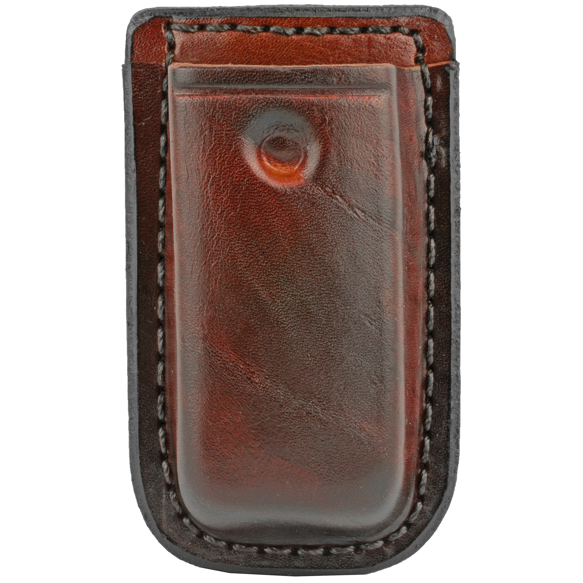 """The D417 clip on single magazine holder features a sturdy spring metal clip for easy removal. The indent on the front holds the magazine in place. Carrier has an ambidextrous design and fits belts up to 1 3/4""""."""