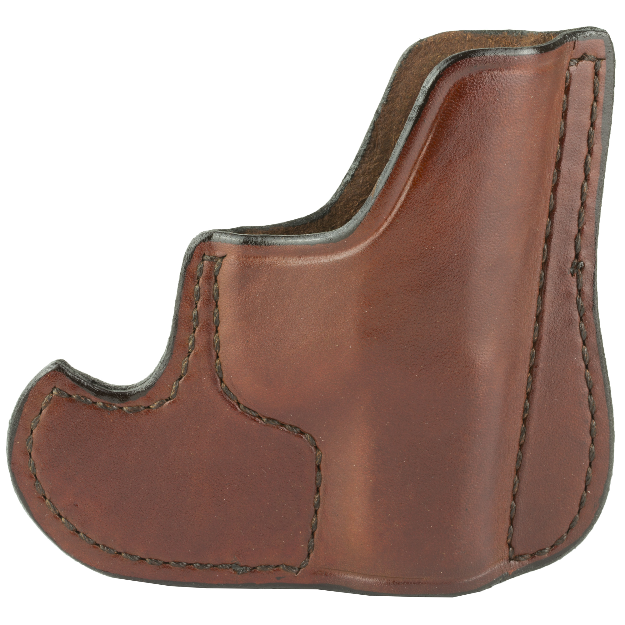 The 001 Front Pocket holster can be carried in the front pocket or a jacket pocket. The design of this holster conceals the shape of the firearm and keeps it in the ready position. When used in proper sized pockets the hooked shape will catch on the pocket so you can draw the firearm out of the holster while it remains in the pocket or falls away. Can be used Right or Left Handed.