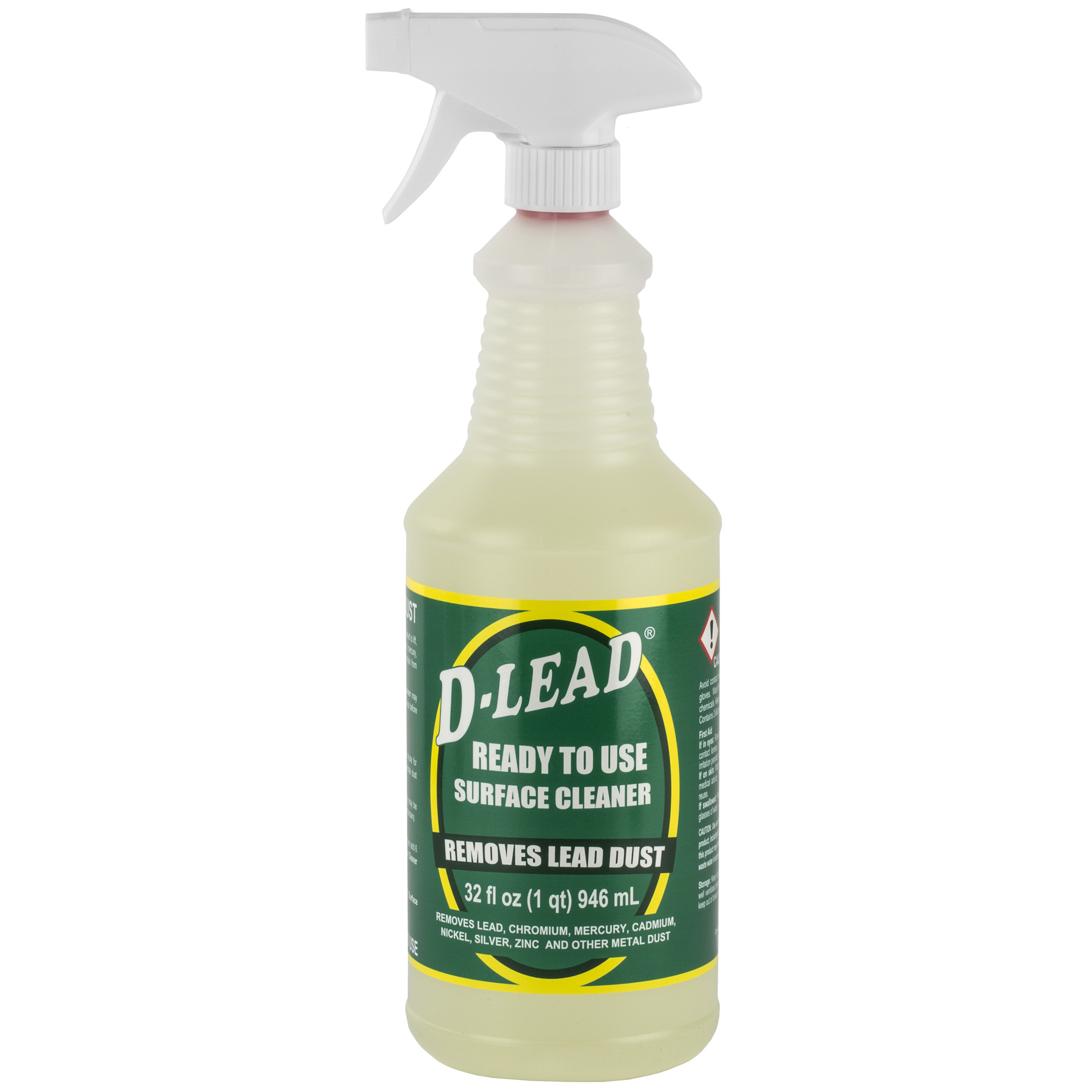 "D-Lead(R) Surface Cleaner ready to use in a 32 ounce spray bottle. No need for mixing or diluting. Simply spray"" scrub and wipe dry with a clean towel."