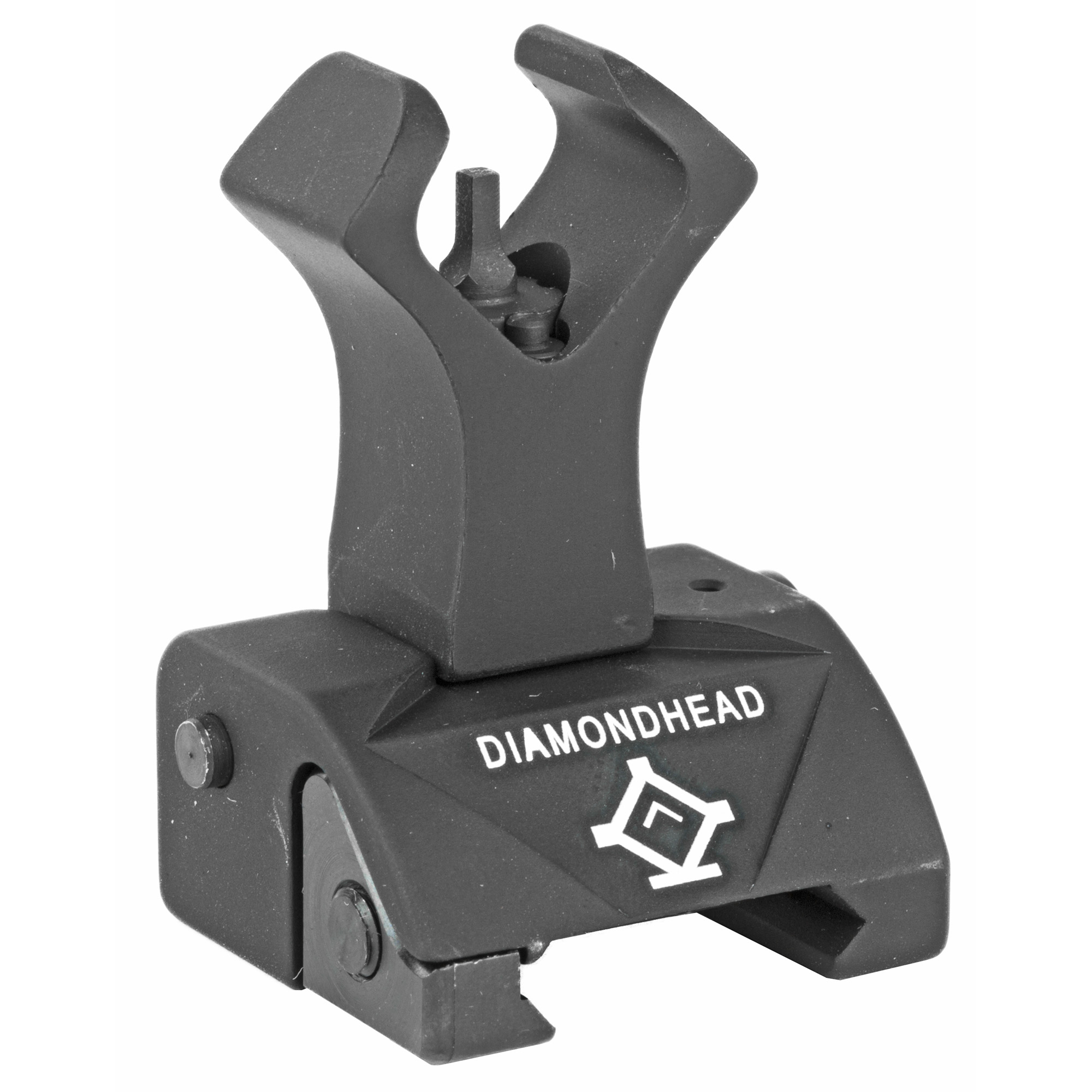 """Diamondhead's Diamond Flip-Up Front Sight's patented Diamond-shaped Housing allows for faster alignment"""" especially when integrated with the DIAMOND Rear Combat Sight and the rear sight's patented Diamond-shaped Apertures. The revolutionary design of the front housing creates a lightning-fast alignment of the front sight post in the center of the rear aperture. Works with Diamondhead (Receiver Height) Gas Block."""