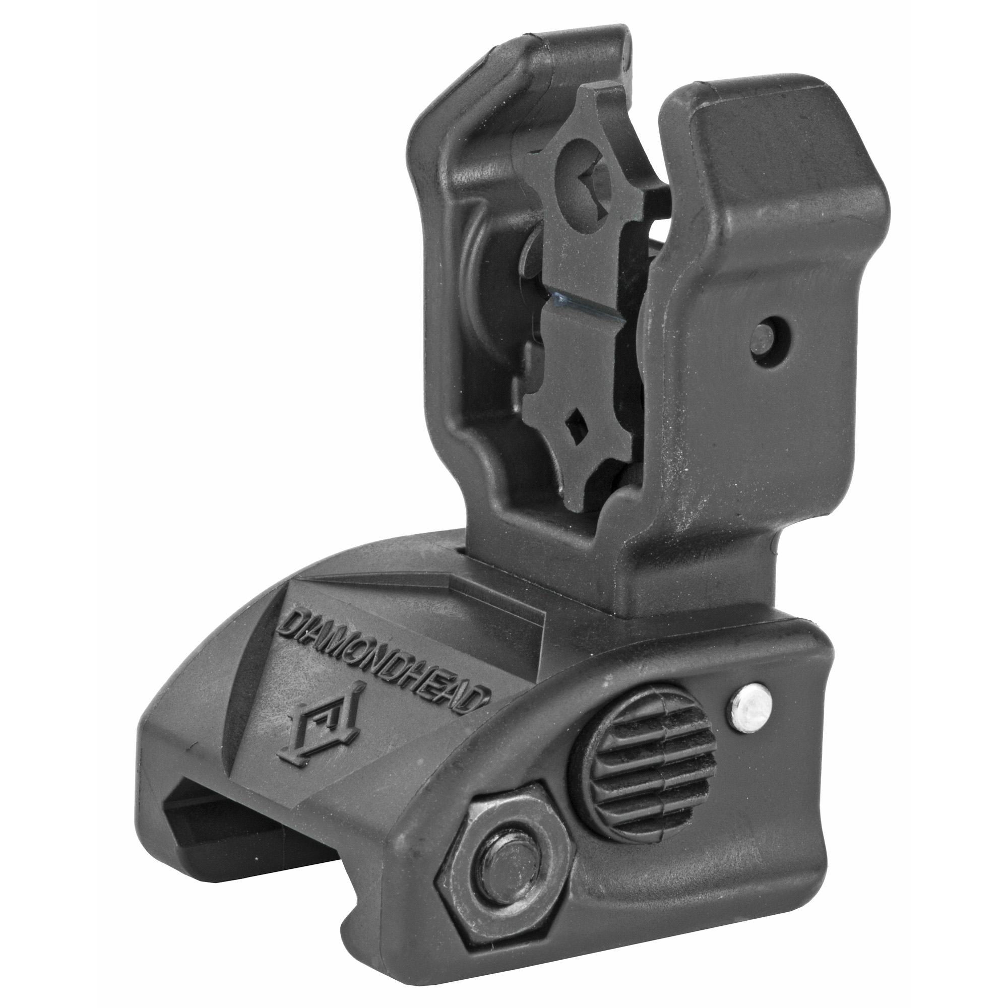 """Diamondhead's Polymer Diamond Rear Sight is designed for all AR15s and Modern Sporting Rifles. It is suitable for firearms fitted with a factory hand-guard and a fixed front sight"""" or can be paired with any Picatinny rail mounted Diamondhead Front Sight e.g. Diamond Front Polymer Sight"""" Diamond Front Combat Sight"""" Auto-Ranger Front Combat Sight"""" etc."""