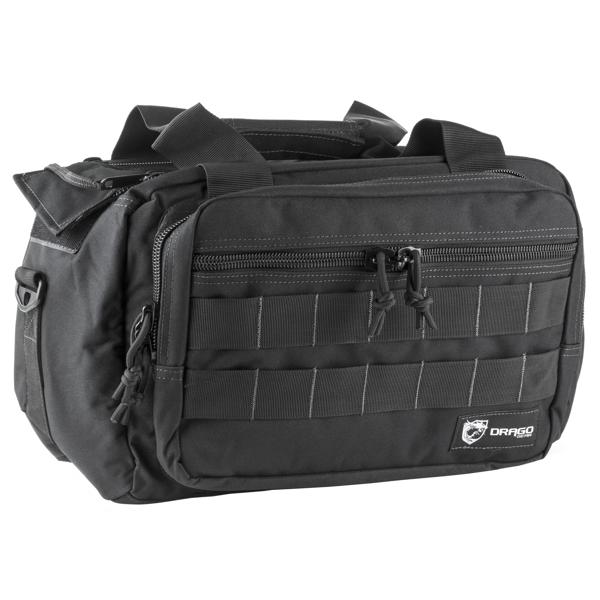 """This range bag is perfect for carrying multiple pistols"""" ammo"""" and shooting accessories. It features internal compartments for hearing and eye protection. MOLLE webbing allows attachment of load-bearing equipment."""