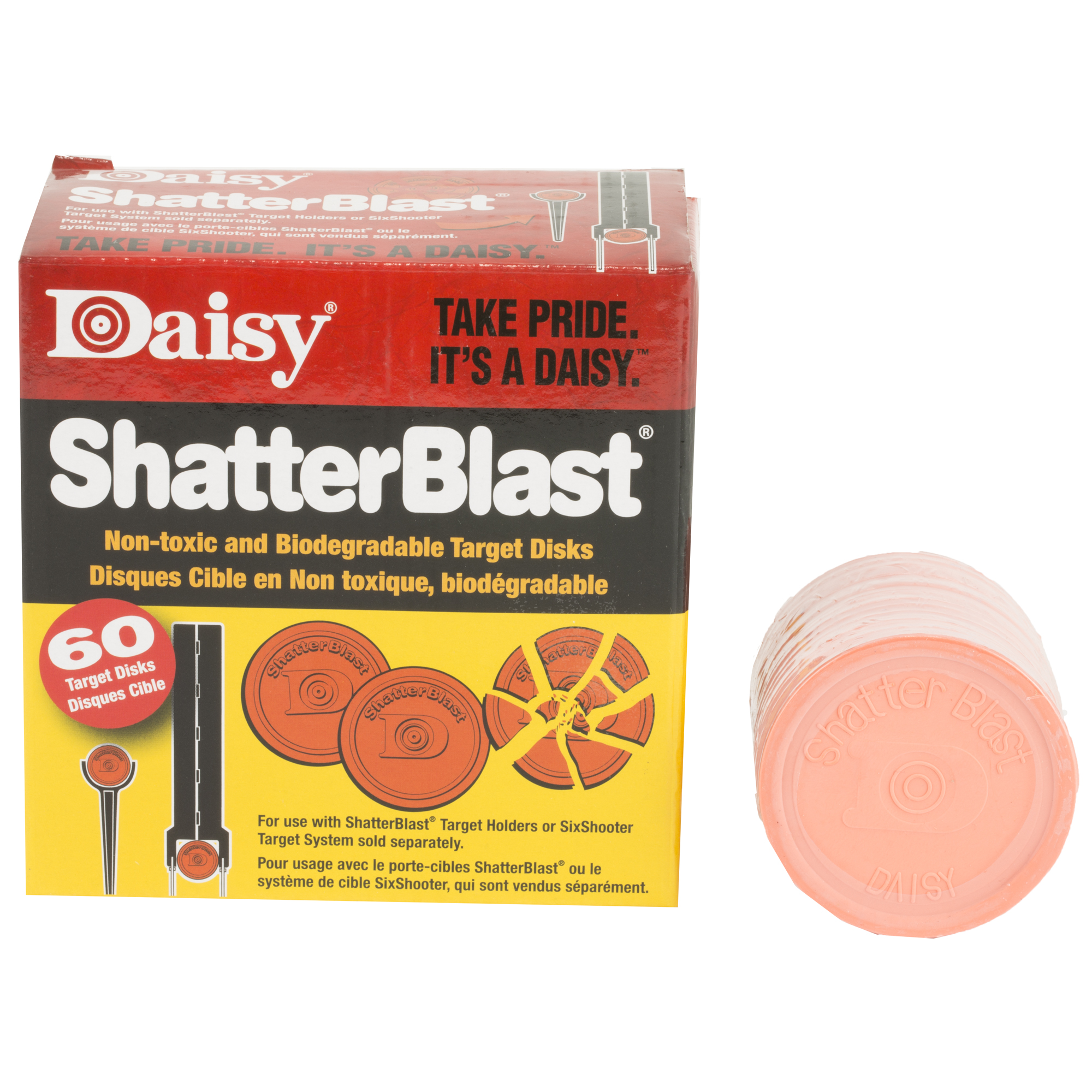 "Improve your target-shooting skills with the Daisy(R) ShatterBlast Clay Targets 60-Pack. The 2"" clay targets break into little pieces when you shoot them and are made from nontoxic"" biodegradable natural clay."