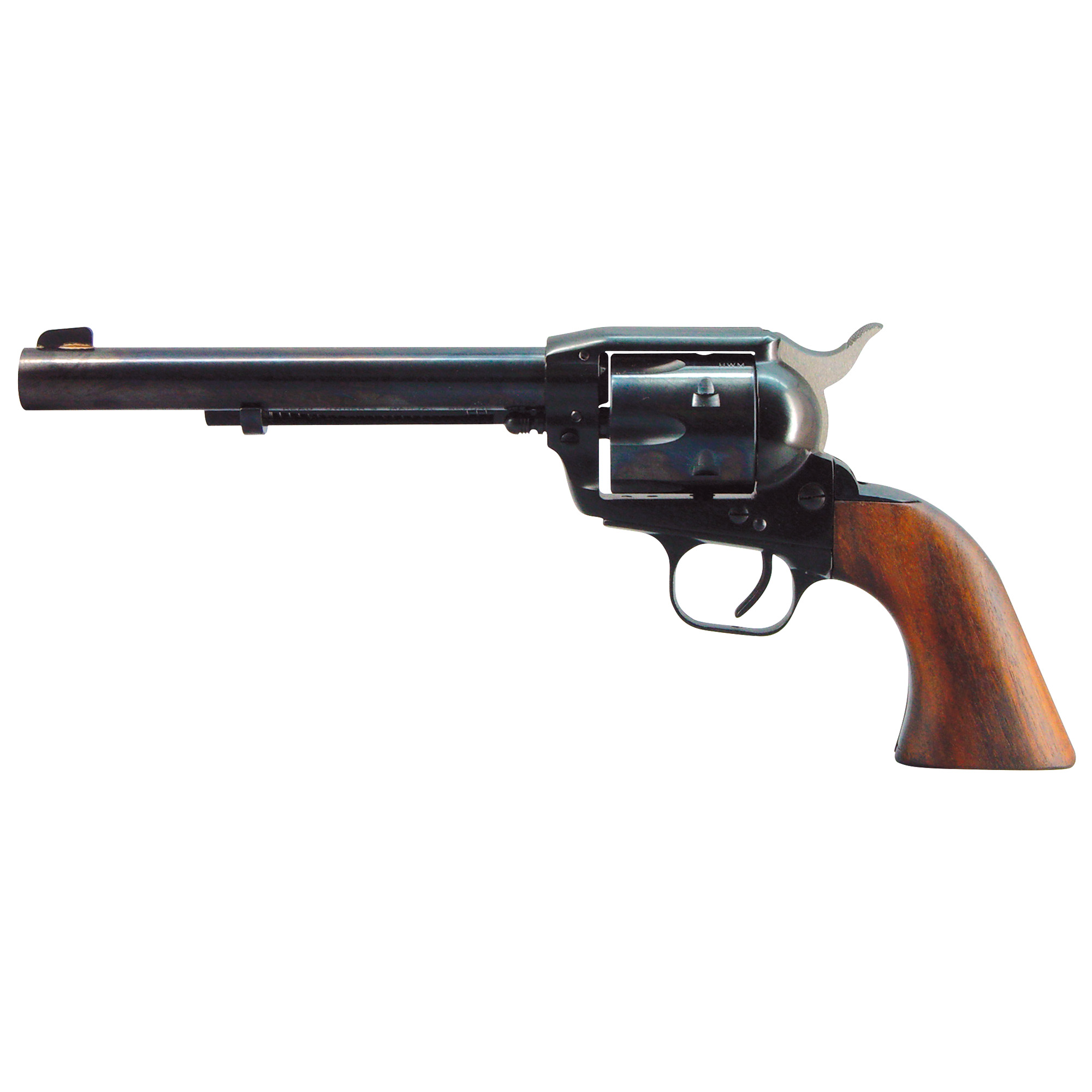 "The Bounty Hunter is a traditional 6 shot single action revolver with traditional resting notch"" but it also has a transfer bar and recessed chambers for shooting safety. There are a lot of single action revolvers out there but none better than The Bounty Hunter from EAA Corp."