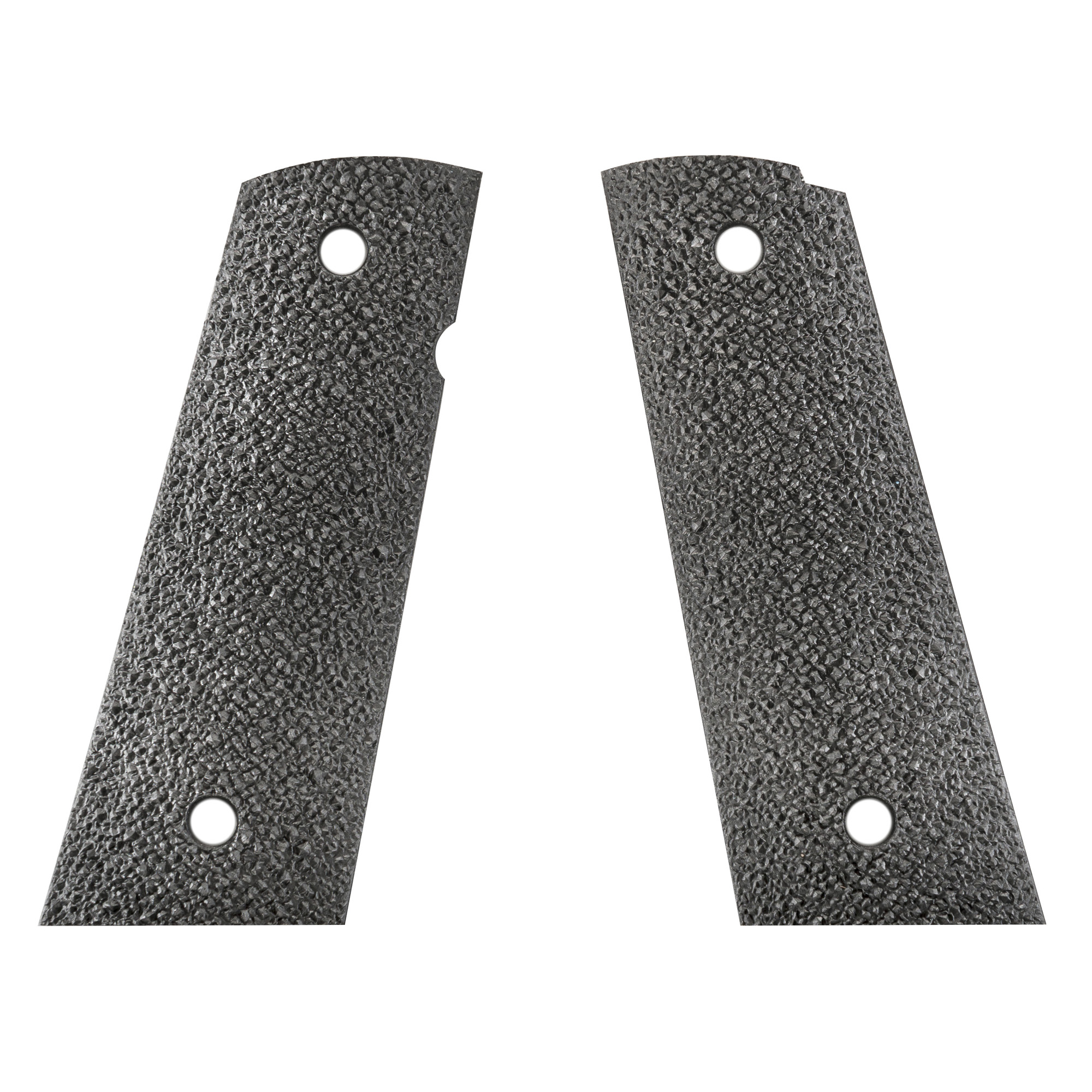 "ERGO's XTR Square Bottom Hard Rubber 1911 Grip is a heavily textured"" minimally abrasive grip for Standard 1911 frames. Its thin profile attaches with standard grip screws and is designed to accommodate ambidextrous safety options."