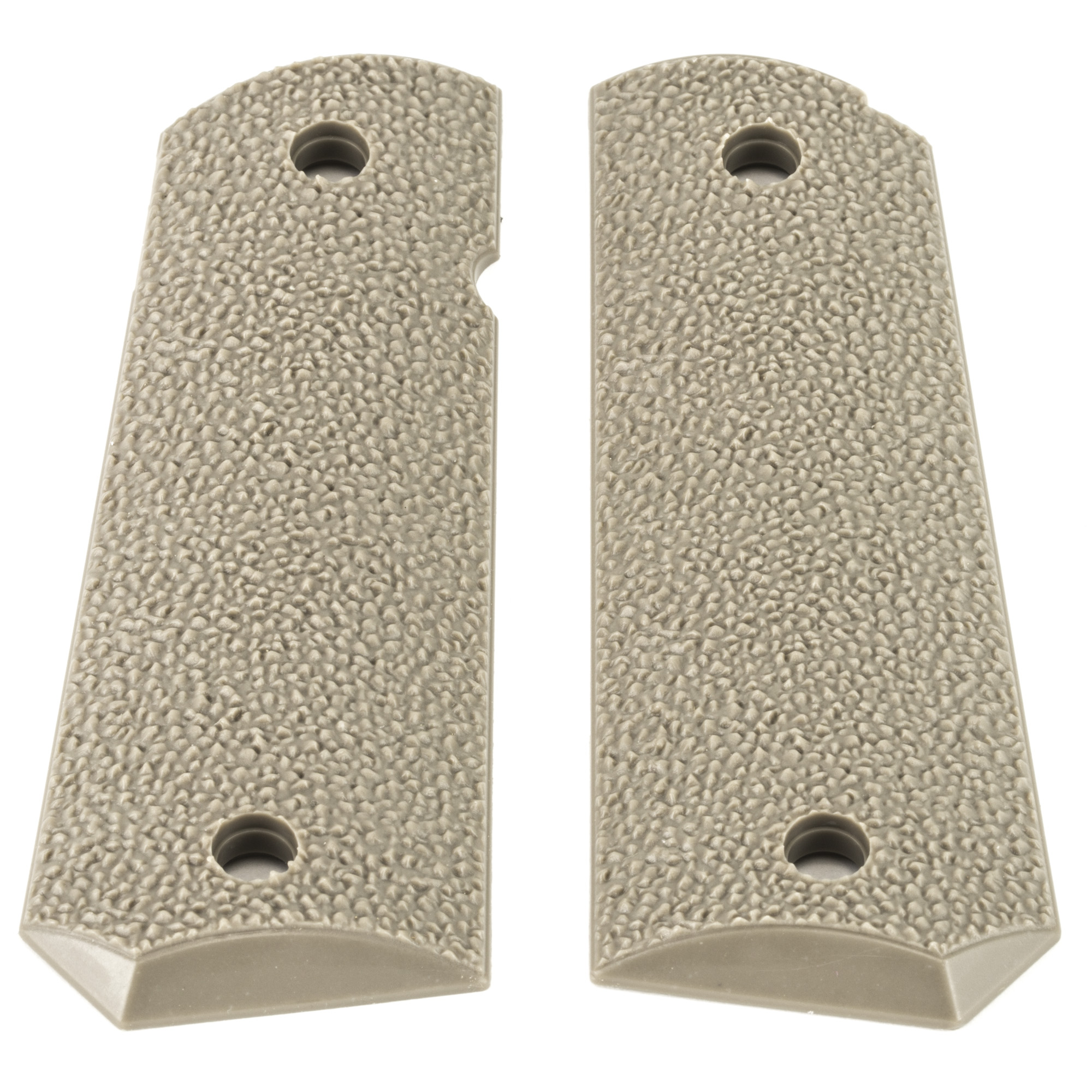 "ERGO's XTR Tapered Bottom Hard Rubber 1911 Grip is a heavily textured"" minimally abrasive grip for Standard 1911 frames. Its thin profile attaches with standard grip screws and is designed to accommodate ambidextrous safety options."