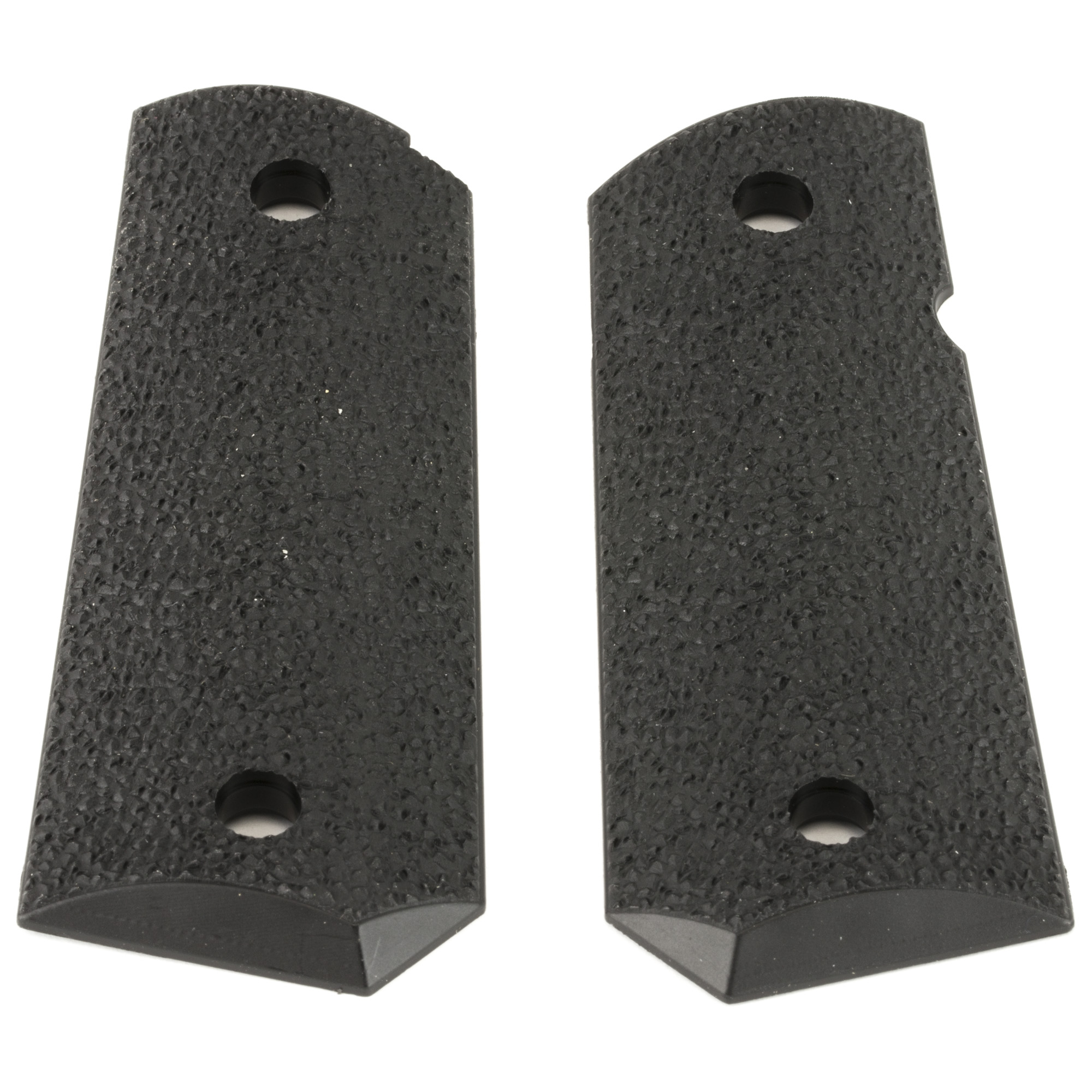 "ERGO's XTRO Officer's Model Tapered Bottom Hard Rubber 1911 Grip is a heavily textured"" minimally abrasive grip for Officer Model 1911 frames. Its thin profile attaches with standard grip screws and is designed to accommodate ambidextrous safety options."