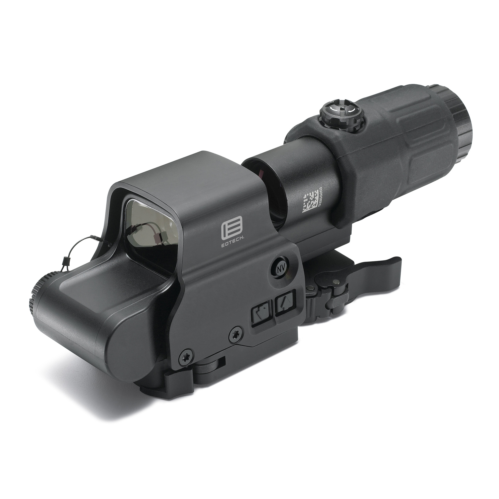 "The Holographic Hybrid Sight I (HHS I) features an EXPS3-4 with a G33.STS magnifier. It has great utility for any shooter"" whose target ranges vary from close to mid-range. The HHS I provides a solution for engaging threats in close-quarter combat situations"" then quickly transitions to a 600-meter targeting or surveillance situation. A quick switch-to-side (STS) mount offers simple"" fast disengagement of the G33 magnifier. The durable"" night-vision-compatible system offers wide-field optical performance with superior light transmission for visibility in extreme low-light conditions."