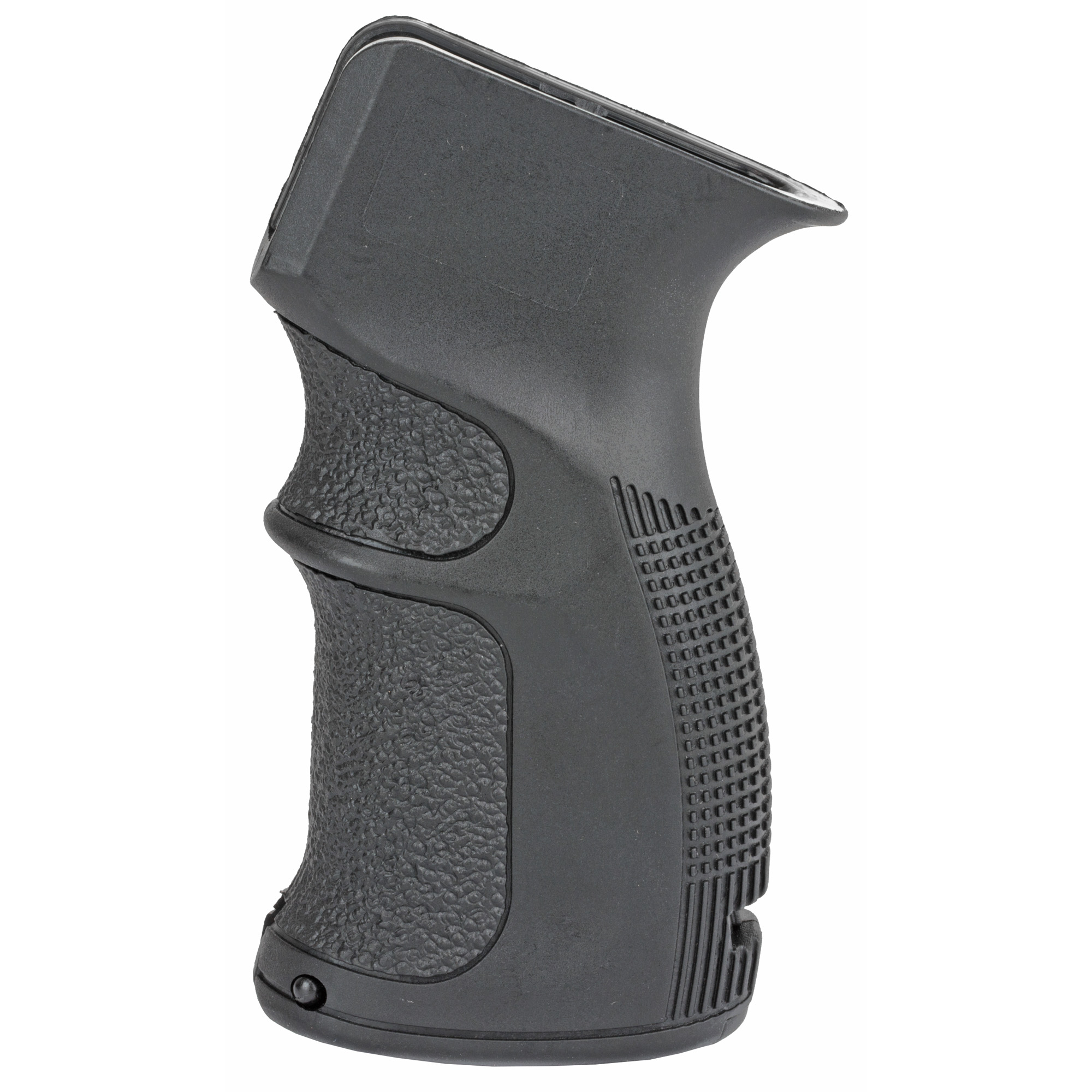"Their AG-47 Ergonomic Pistol Grip provides enhanced grip and improved weapon handling for your AK-47/74. It features a built-In storage compartment with removable 2x CR123 battery holder"" finger grooves and backstrap shape for enhanced"" more comfortable grip and is made of MIL-SPEC fiberglass reinforced polymer composite."
