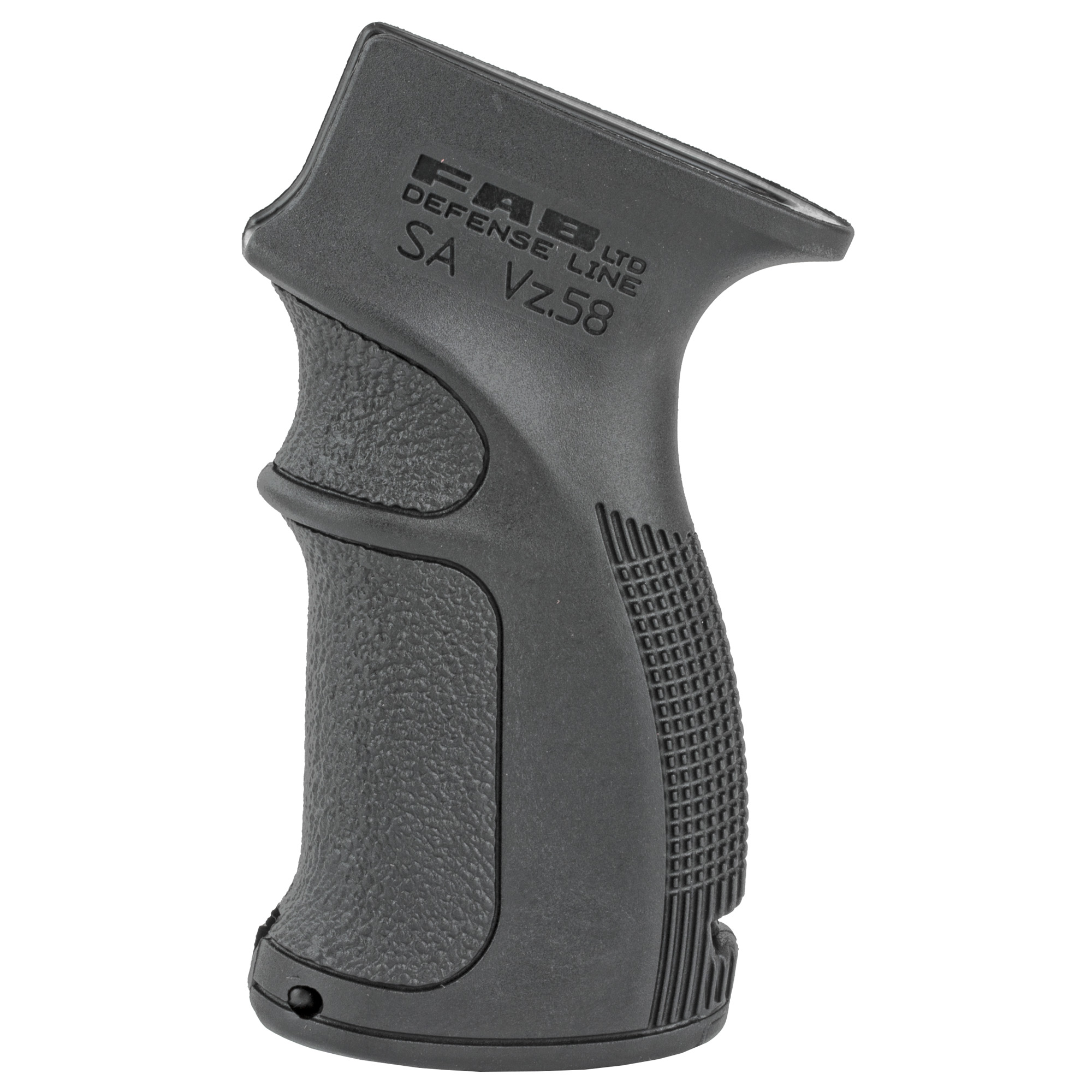 "Their AG-58 Ergonomic Pistol Grip provides enhanced grip and improved weapon handling for SA VZ 58. Features a built in storage compartment"" finger grooves and backstrap and is made of MIL-SPEC fiberglass reinforced polymer composite."