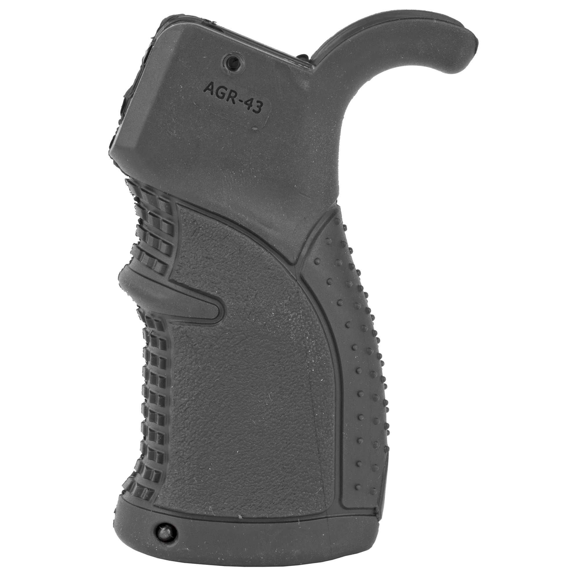 "The AGR-43 is the latest addition to their line of pistol grips featuring multi-textured rubber"" enhancing your grip experience. Incorporated into its design"" is the superior contour of its predecessor"" adding even more comfort and proper ventilation needed in extreme heat and moist environments"" giving you the edge you need in the field or at the range. It is constructed from MIL-SPEC reinforced polymer composite with muti-textured rubber overmold superior coating and has three different overmold rubber textures; rib studded at palm"" alligator pattern for front fingers and moon surface textured sides."