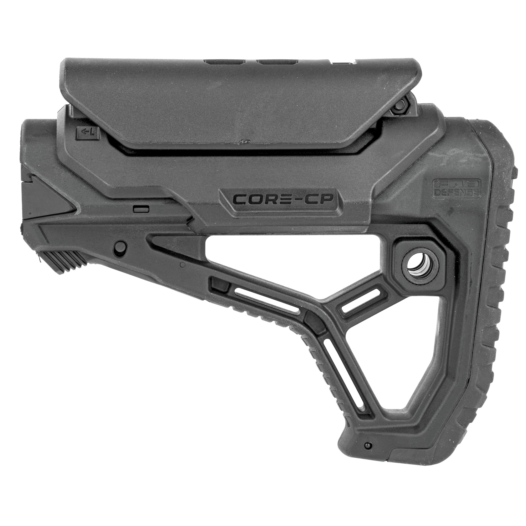 "The GL-Core is their newest addition to their line of buttstocks. The integrated cheek weld"" ergonomic buttpad and an interchanging tube adapter"" provide an unmatched fit on Mil-Spec and Commercial buffer tubes"" with a high level of efficiency and comfort. The CP version includes an additional Cheek Rest"" designed to support the use of different optics and holographic sights on the AK and VZ platforms."