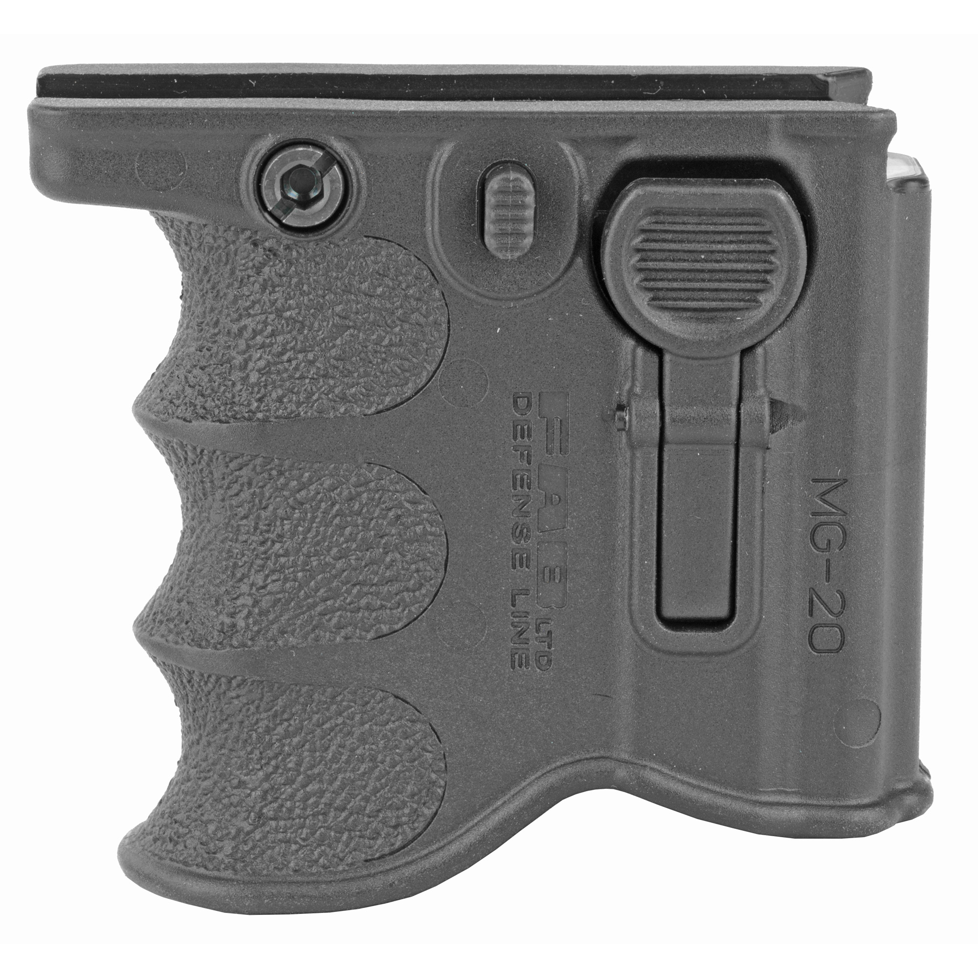 "The MG-20 is a 2-in-1 foregrip and spare magazine holder"" enhancing tactical efficiency by accommodating an additional magazine in hand and facilitates swift magazine change."