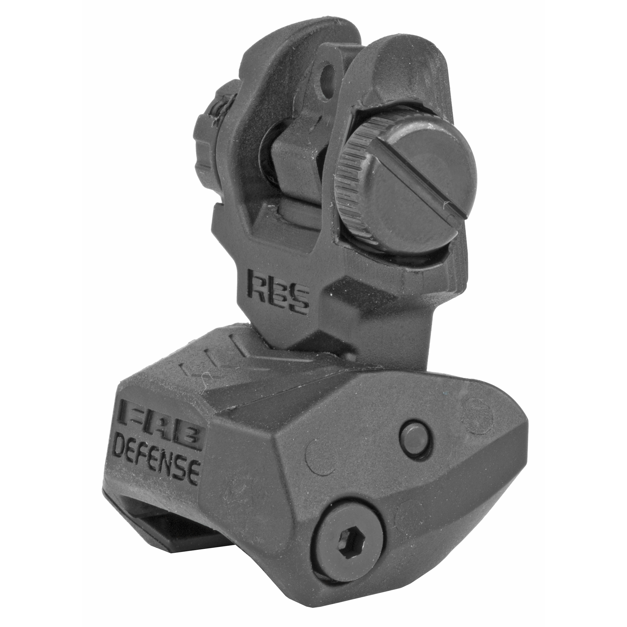 "The RBS is an advanced"" dual aperture"" durable and low-profile auxiliary rear sight. It can be used with any front sight and was designed for more accurate aiming and faster target acquisition. Windage is easily and quickly adjusted without tools. RBS is readily mounted on any 1913 Picatinny rail"" making it ideal for use on M4 / AR-15 / M-16 platforms and on the FAB Defense(R) K.P.O.S."