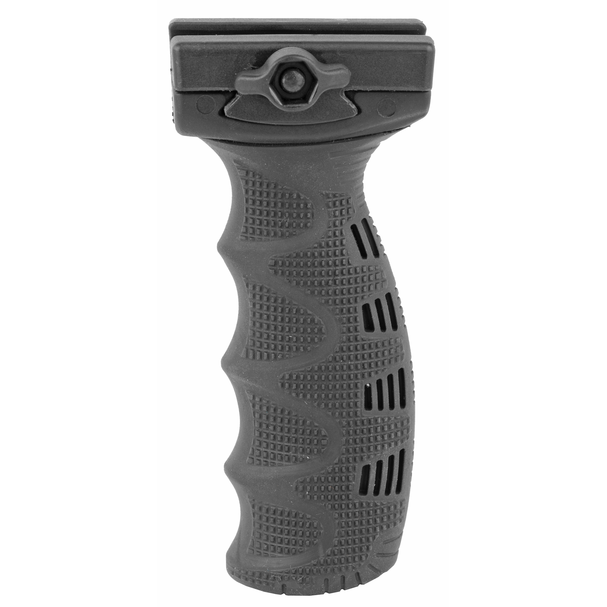 The new REG State-of-the-Art Rubberized Ergonomically Designed Tactical Foregrip has a unique comfortable texture and sleek contour for superior hold.