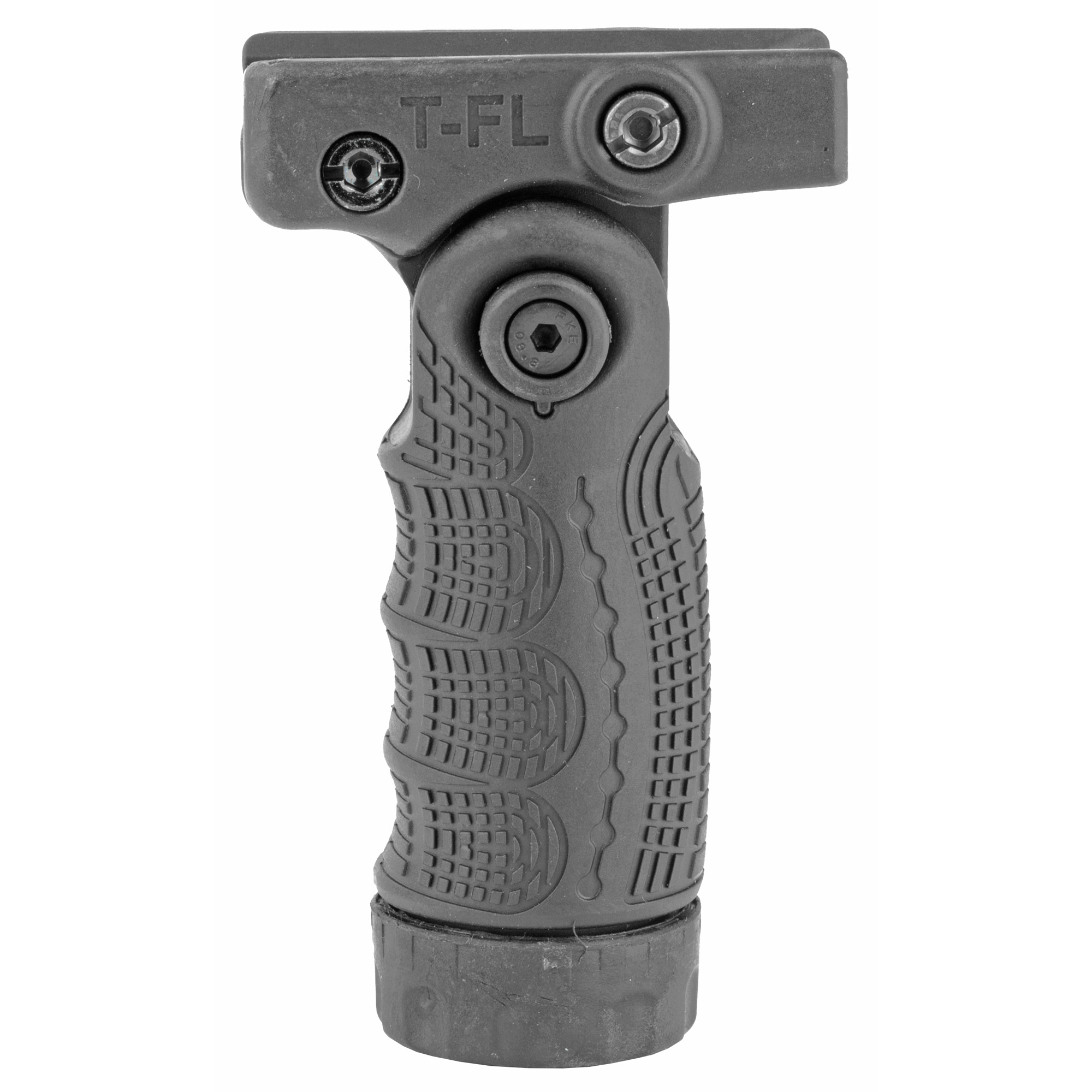 "The T-FL 7 Positions Vertically Folding Foregrip quickly transforms from a horizontal grip into a vertical grip by the push of a button and provides enhanced versatility"" grip and functionality."