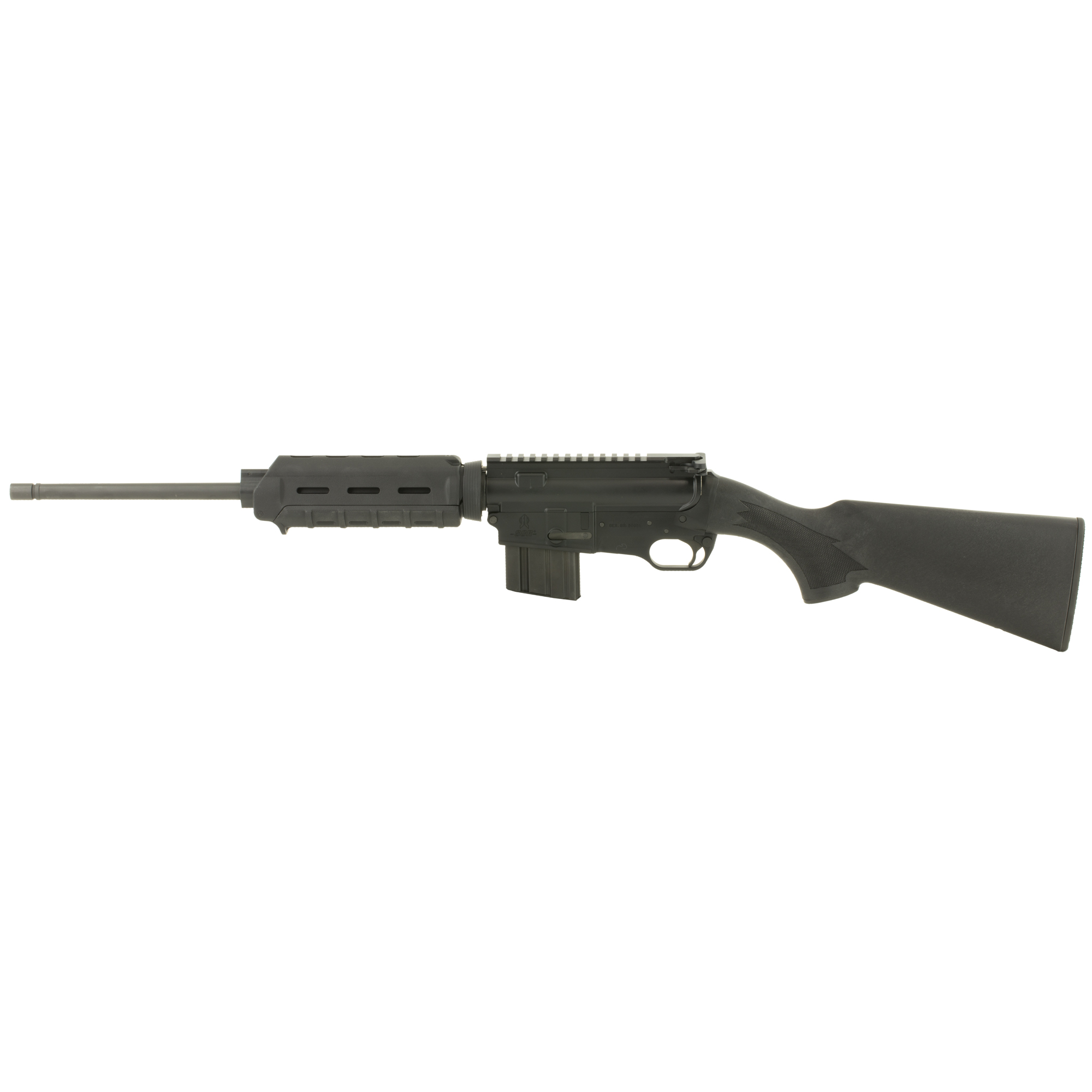 "The FightLite SCR-002 features a high-impact synthetic stock"" carbine length Magpul MOE handguard"" 7075-T6 receivers and a 4140 Chromoly barrel."