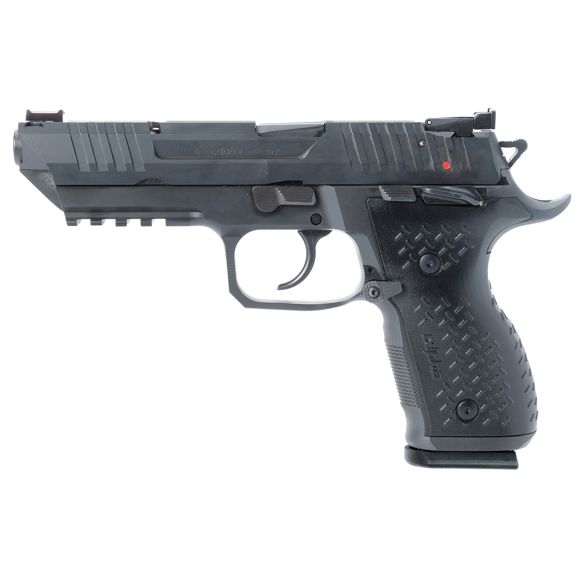 """The Rex Alpha is all about performance. The trigger mechanism is factory fine-tuned for each pistol to deliver a smooth double action pull and a short trigger reset in an out-of-the-box competition grade trigger. The full steel frame incorporates oversized ambidextrous manual safety levers"""" flared magazine well"""" aggressive checkering in front of the grip"""" extended magazine release"""" fiber optic front sight"""" and a fully adjustable black rear sight (windage/elevation)."""