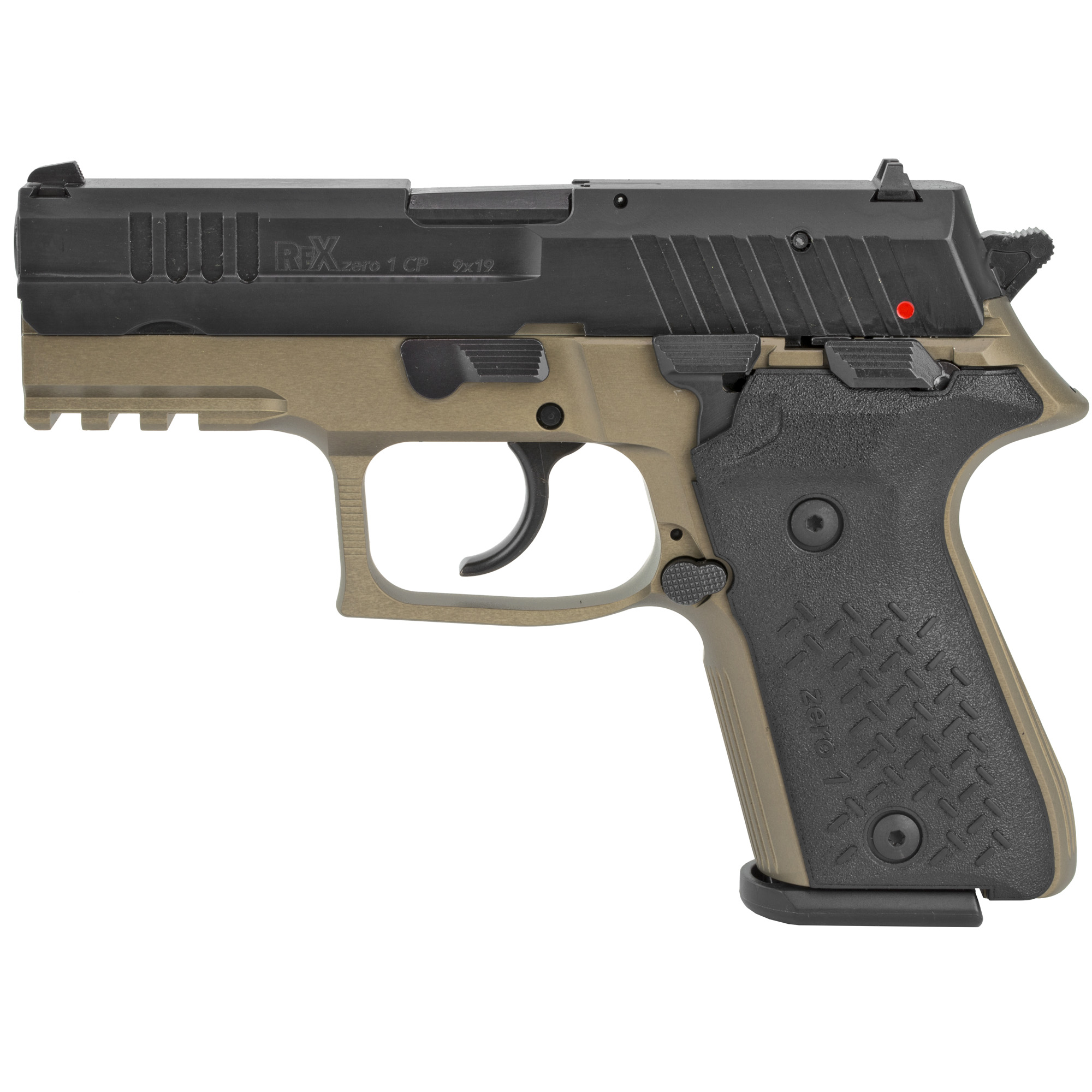 """The most sought after pistol in the world"""" the Rex Zero 1 9mm pistol by Arex is available in the US exclusively through FIME Group"""" LLC. The Rex Zero 1 pistol complies with strict military standards for reliability and has passed extreme temperature"""" hostile environment"""" and drop tests. The expected service life for the pistol exceeds 30""""000 rounds."""