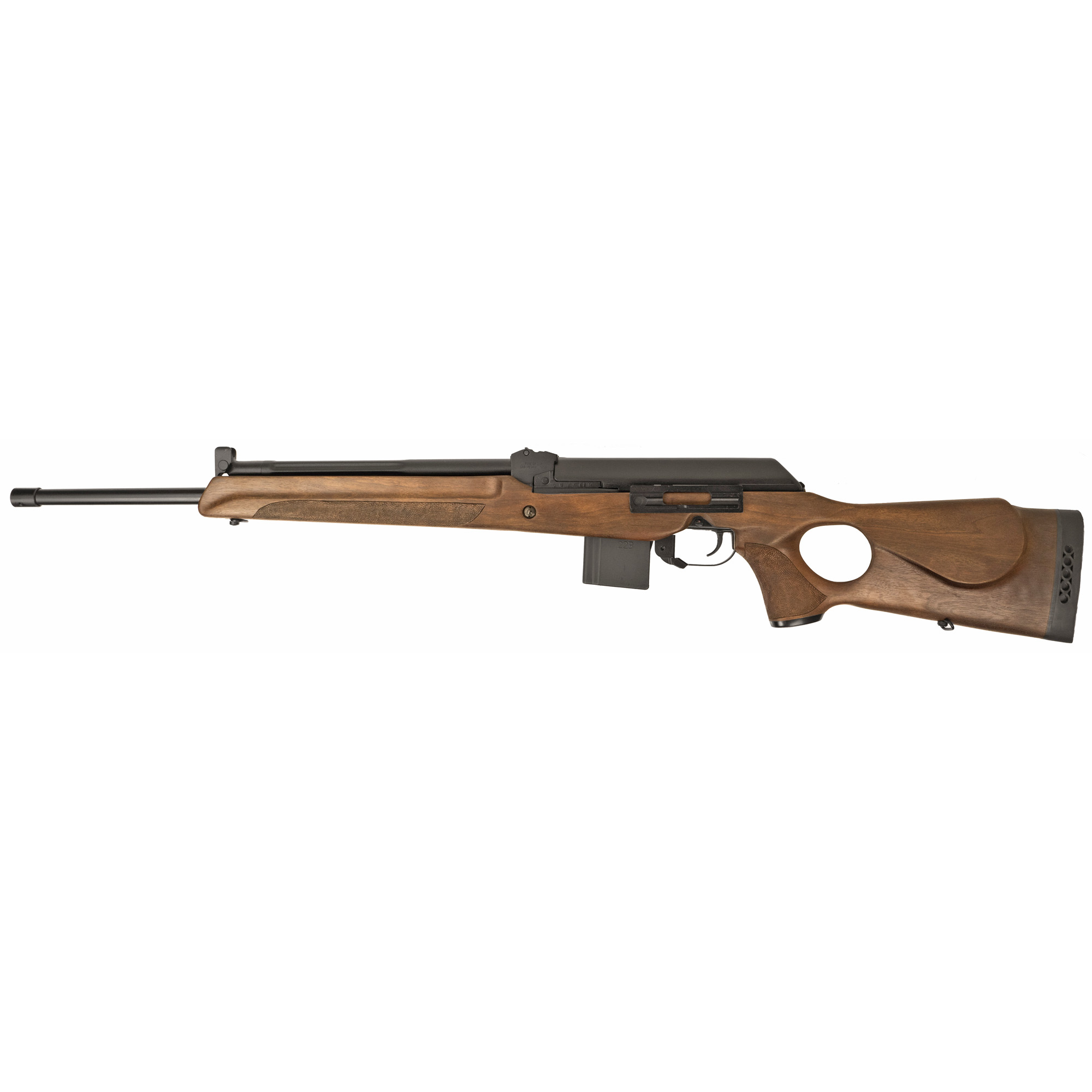 """The Fime Vepr Super 223 has a 1-piece thumbhole wood stock"""" 21.6"""" chrome lined hammer forged barrel and two 10 round magazines."""