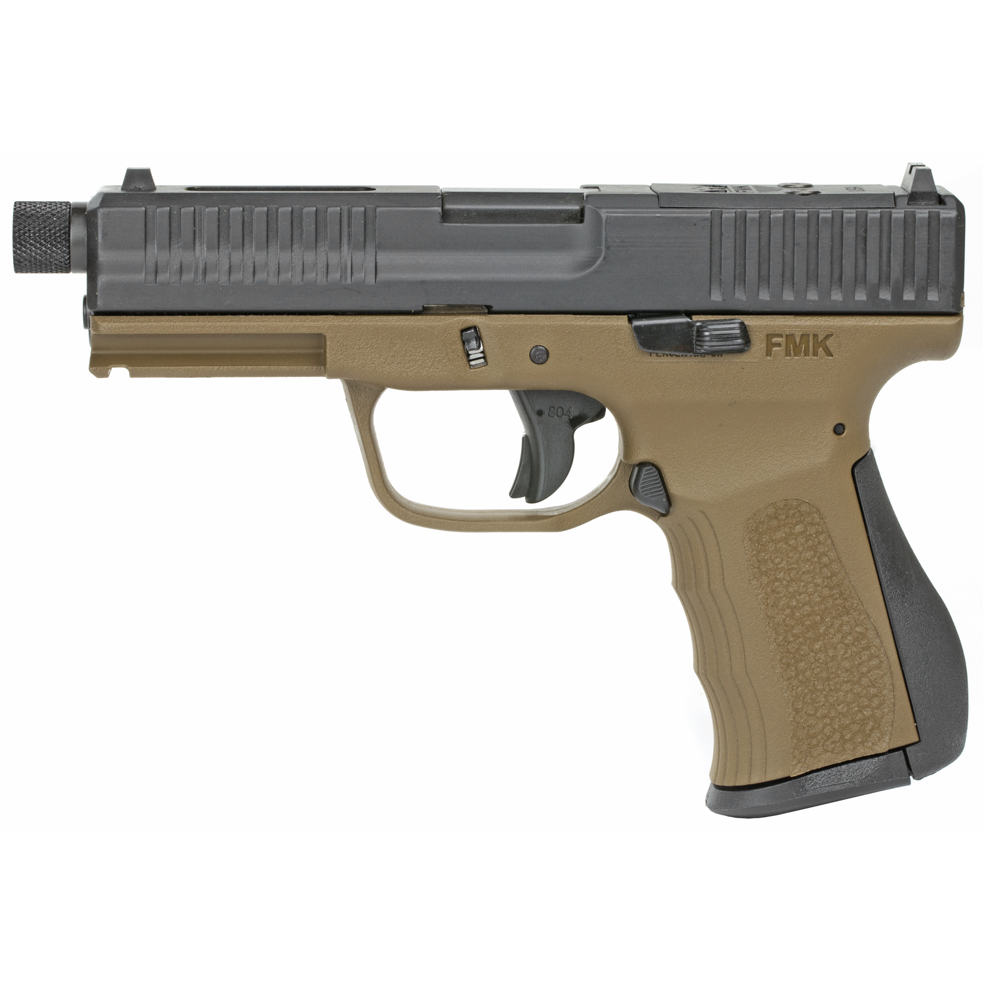 """The FMK ELITE 9mm is ergonomically built to comfortably fit both large and small hands. The barrel is engineered to sit low for superior point and shoot accuracy and reduced muzzle flip. The new custom designed slide allows mounting of any Vortex Viper"""" Venom or Trijicon RMR optic right to the slide without any mounting plates!"""