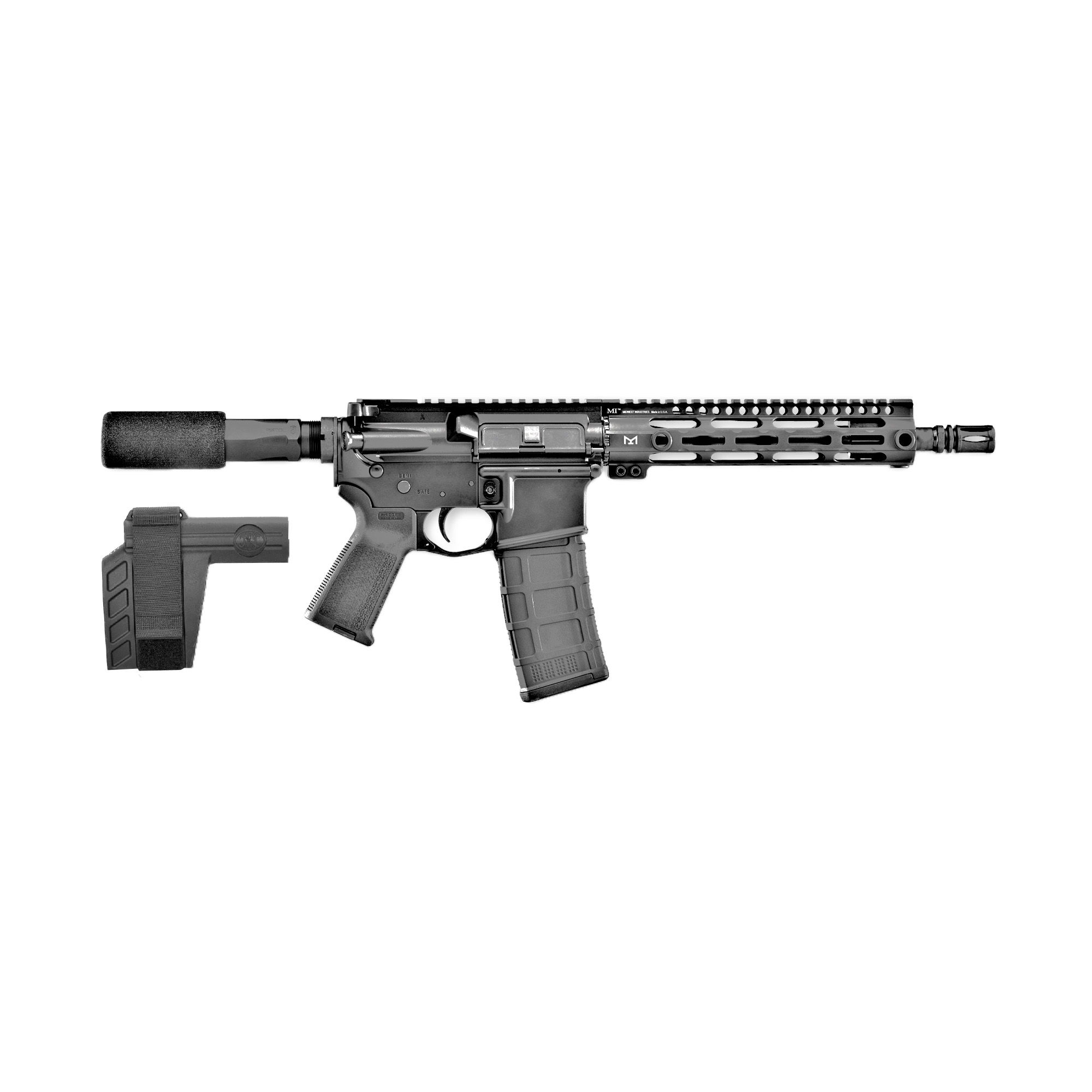 """The FN 15(R) Pistol chambered in 5.56x45mm NATO offers a 10.5-inch"""" cold hammer-forged"""" chrome-lined barrel with 1:7 twist and carbine-length gas system that is optimized to get the highest level of performance out of the 5.56 cartridge in terms of accuracy and reliability. The 9-inch M-LOK rail"""" fixed low-profile stainless-steel gas block"""" FN combat trigger"""" weighing in between 4.5-7.75 lbs."""" and SBX-K Pistol Stabilizing Brace makes this little carbine-caliber pistol a breeze to shoot."""