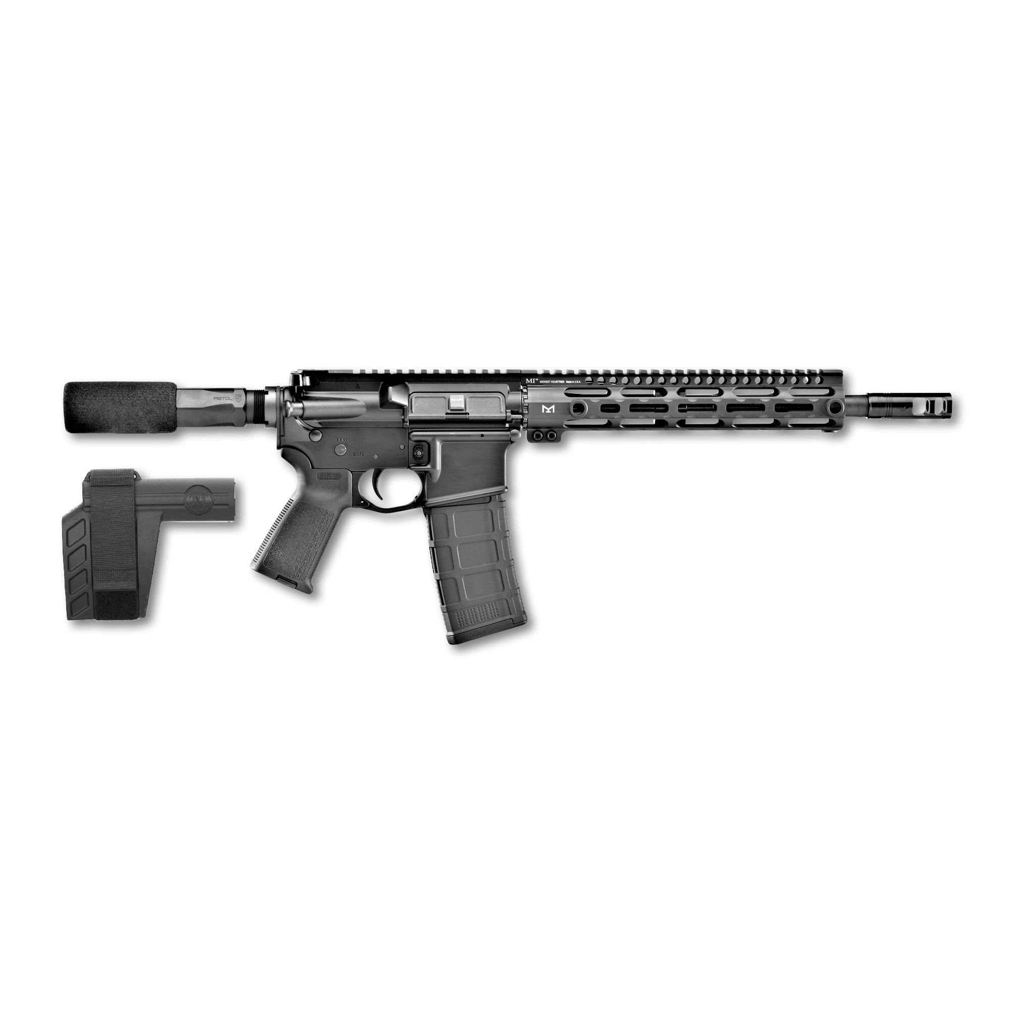 """The FN 15(R) Pistol chambered in .300 AAC Blackout features a 12-inch"""" cold hammer-forged"""" chrome-lined barrel with 1:7 twist and pistol-length gas system that is optimized to get the highest level of performance out of the 7.62x35mm cartridge in terms of accuracy and reliability. The 10-inch M-LOK rail"""" fixed low profile stainless-steel gas block FN combat trigger"""" weighing in between 4.5-7.75 lbs."""" and SBX-K Pistol Stabilizing Brace makes this little carbine-caliber pistol a breeze to shoot."""