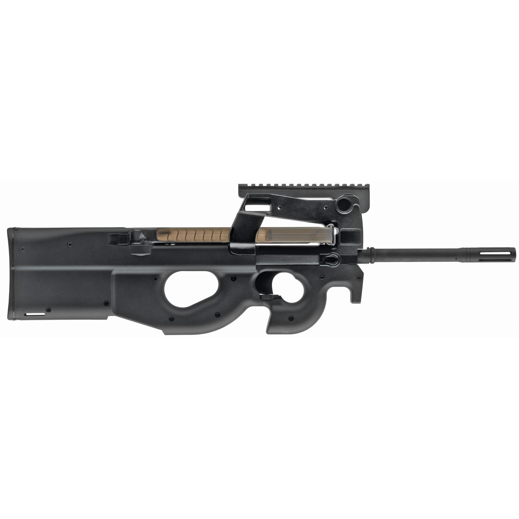 """Chambered in the 5.7x28mm cartridge"""" the FN PS90(R) utilizes blowback operation and fires from a closed bolt for greater accuracy and reliability. The FN PS90(R)'s civilian legal 16.04"""" cold hammer-forged MIL-SPEC barrel is equipped with an integrated muzzle brake to reduce recoil. Dual magazine latches"""" cocking handles and an innovative synthetic thumbhole stock with a molded-in sling attachment point help make the FN PS90(R) fully ambidextrous."""