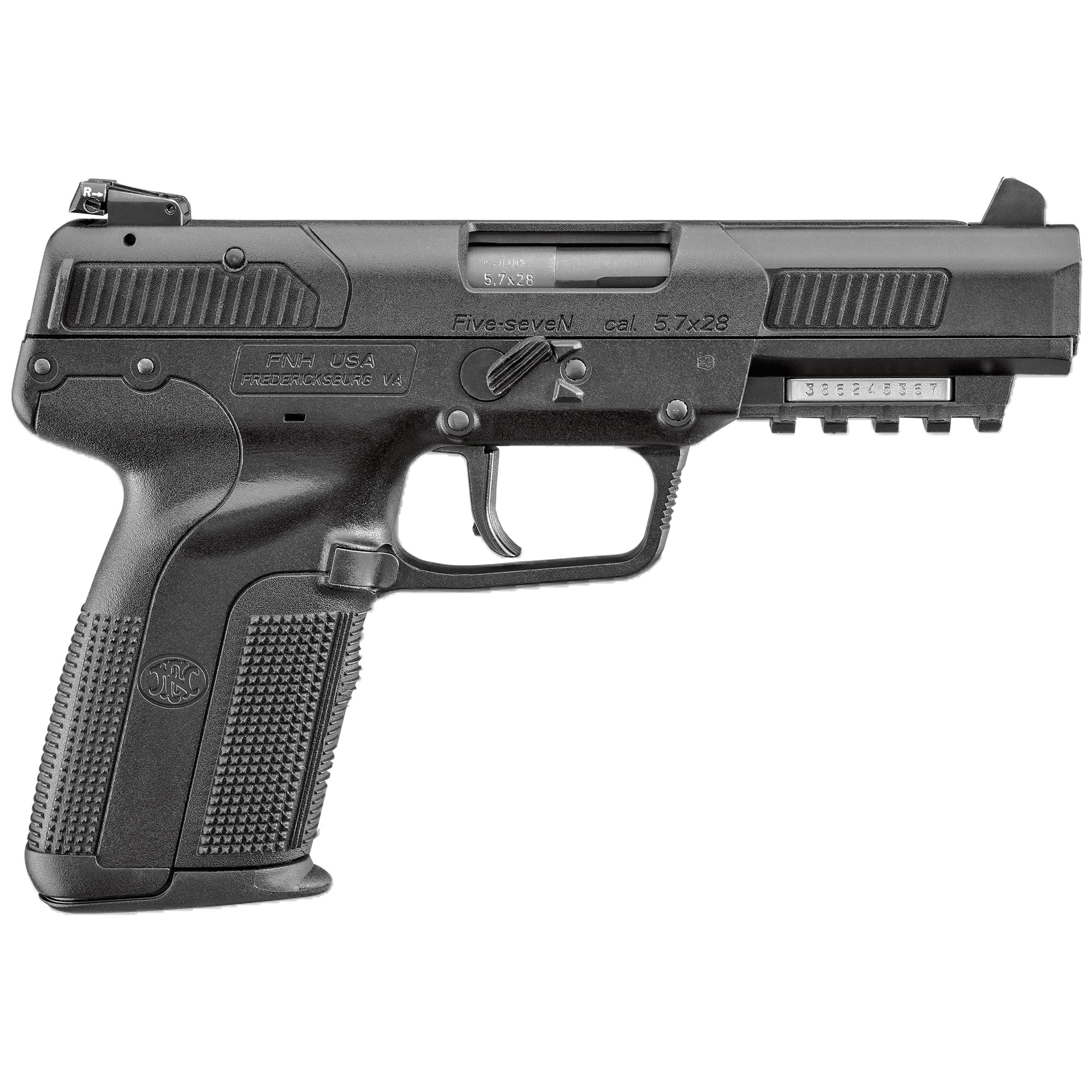 """The FN Five-seven(R) pistol was developed in the early 1990s and features a cold hammer-forged barrel that is chrome-lined for extended service life. The polymer-framed FN Five-seven(R) offers single-action operation"""" low felt recoil"""" 20-round magazine capacity"""" and is equipped with an ambidextrous"""" forward-mounted manual safety"""" and an accessory rail that accepts tactical lights and lasers."""